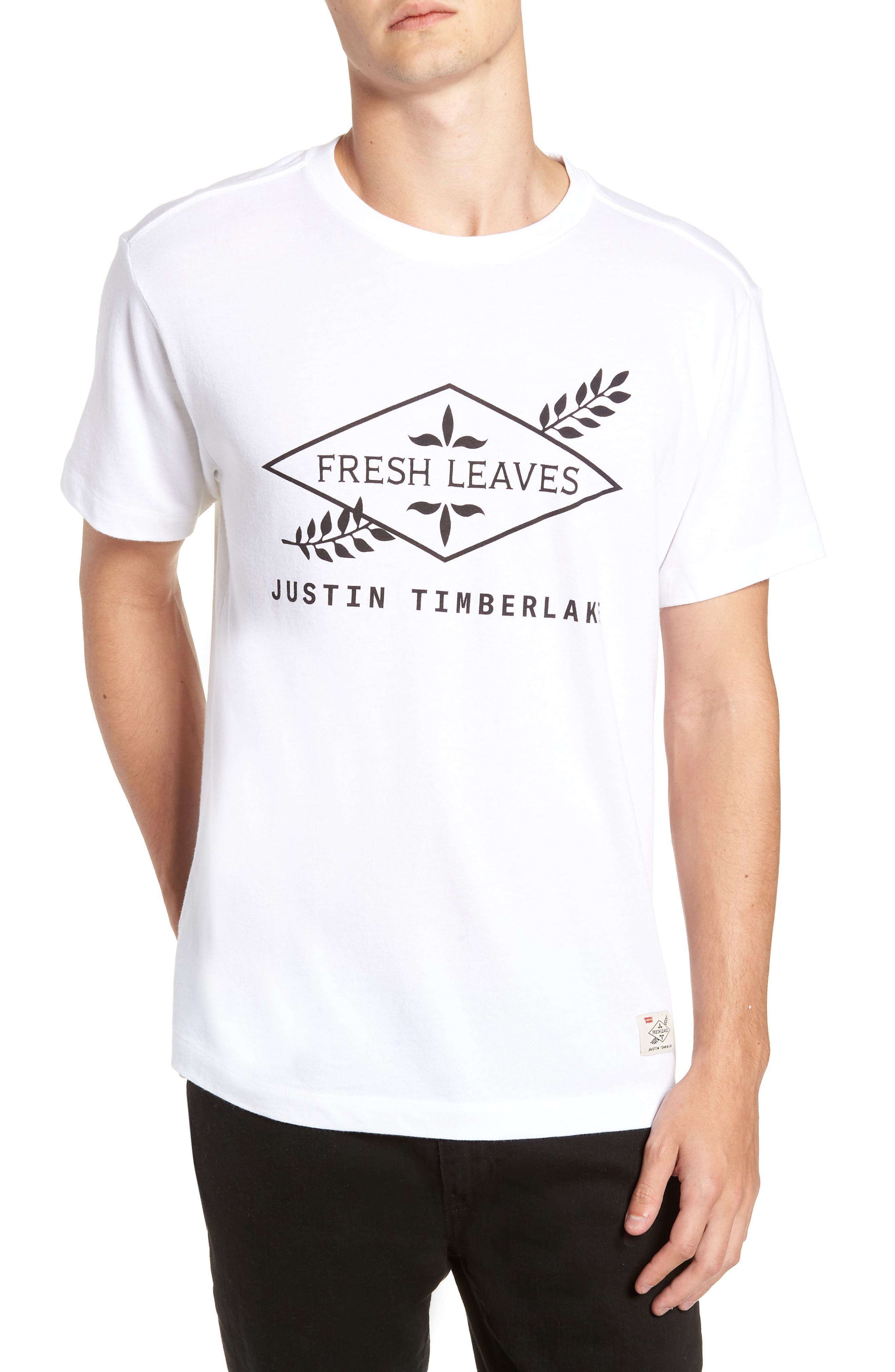 x Justin Timberlake Logo Graphic T-Shirt,                         Main,                         color, FRESH LEAVES WHITE
