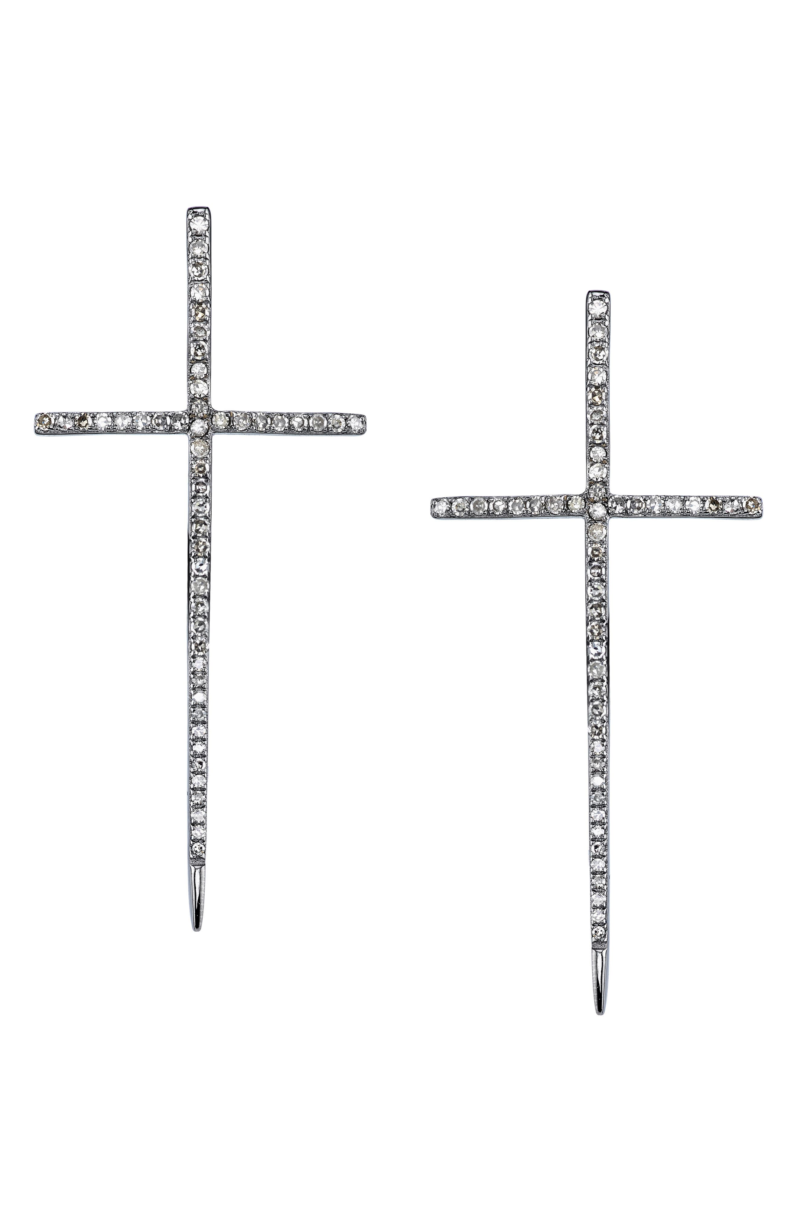 Silver Spike Cross Pave Diamond Earrings in Sterling Silver
