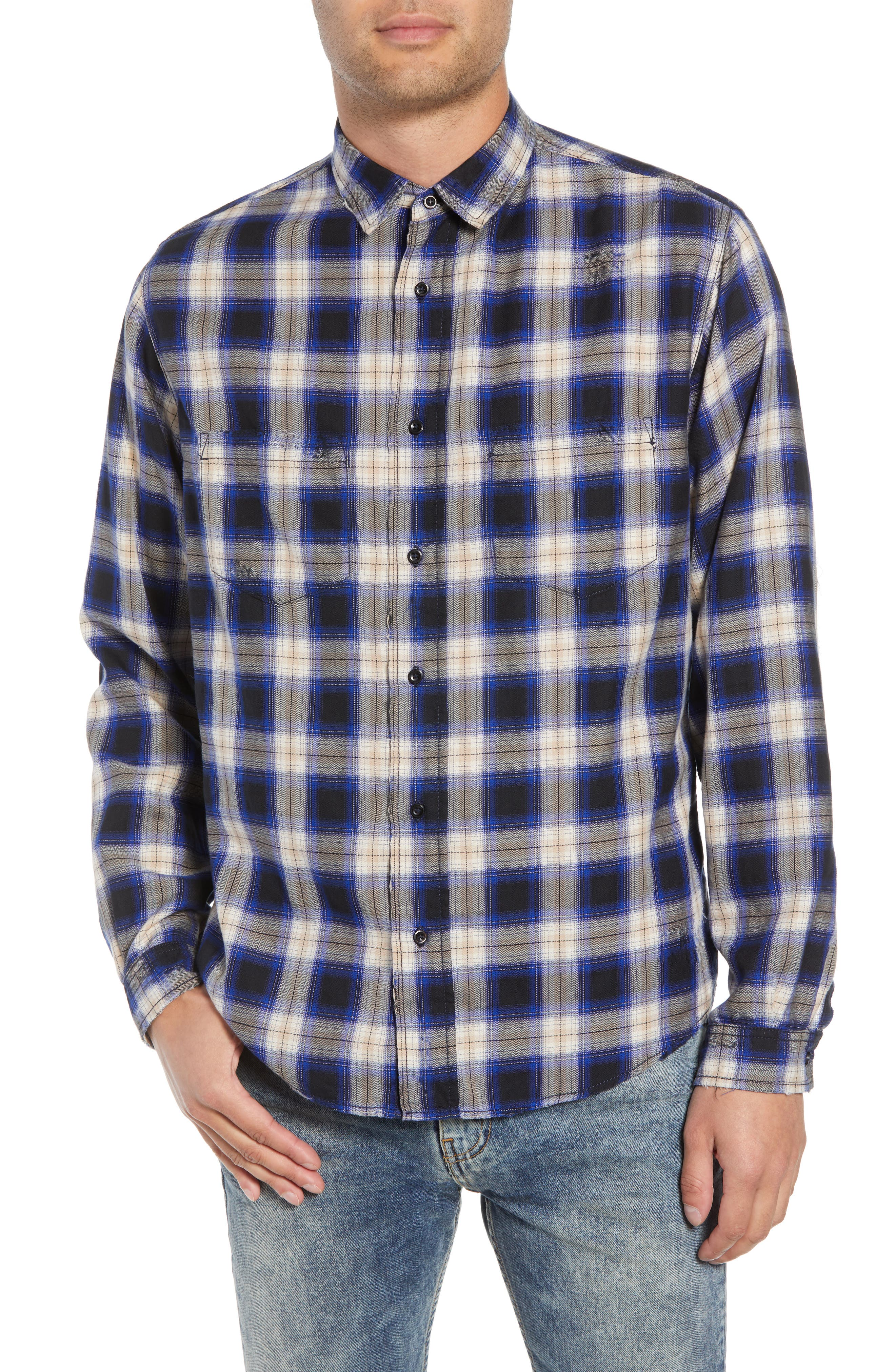 Classic Fit Distressed Plaid Shirt, Main, color, 400