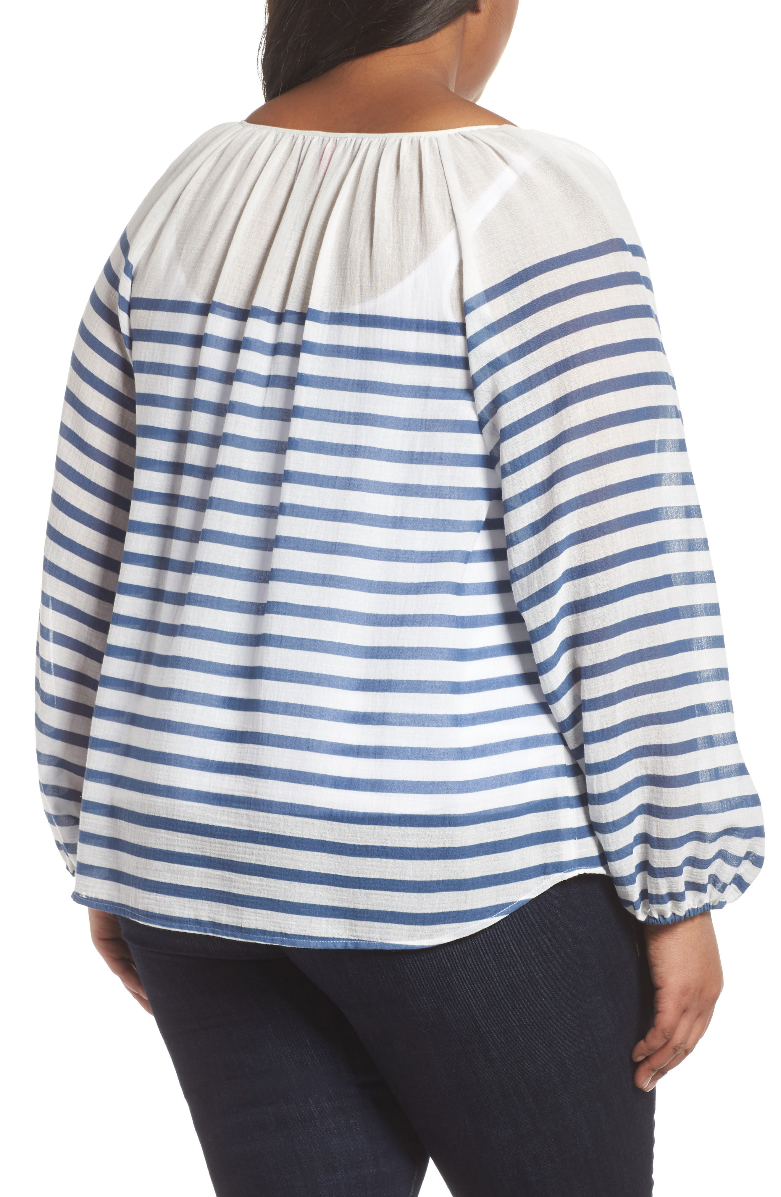 Stripe Peasant Blouse,                             Alternate thumbnail 2, color,                             429