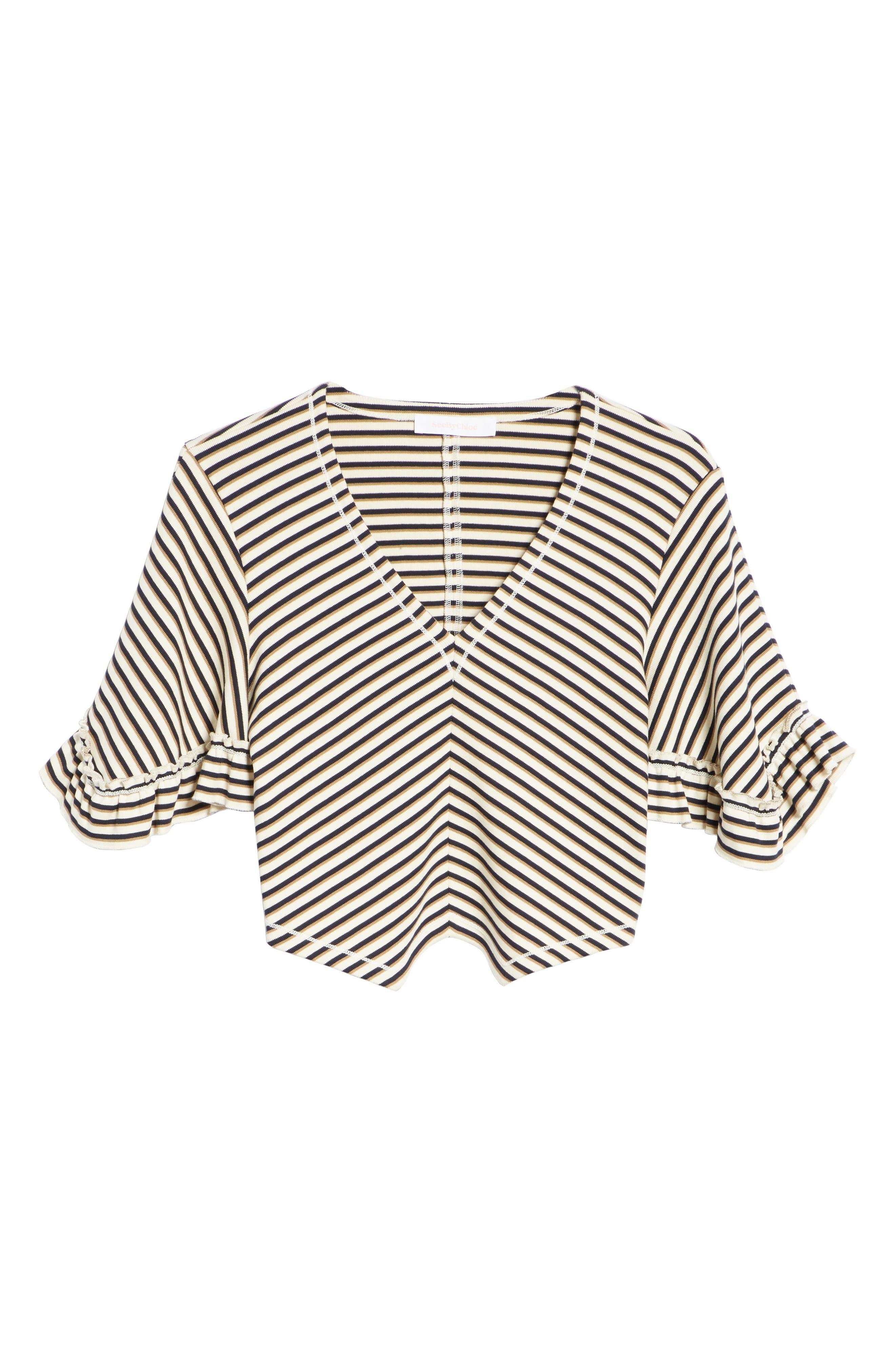 Stripe Top,                             Alternate thumbnail 6, color,                             WHITE - BEIGE 1