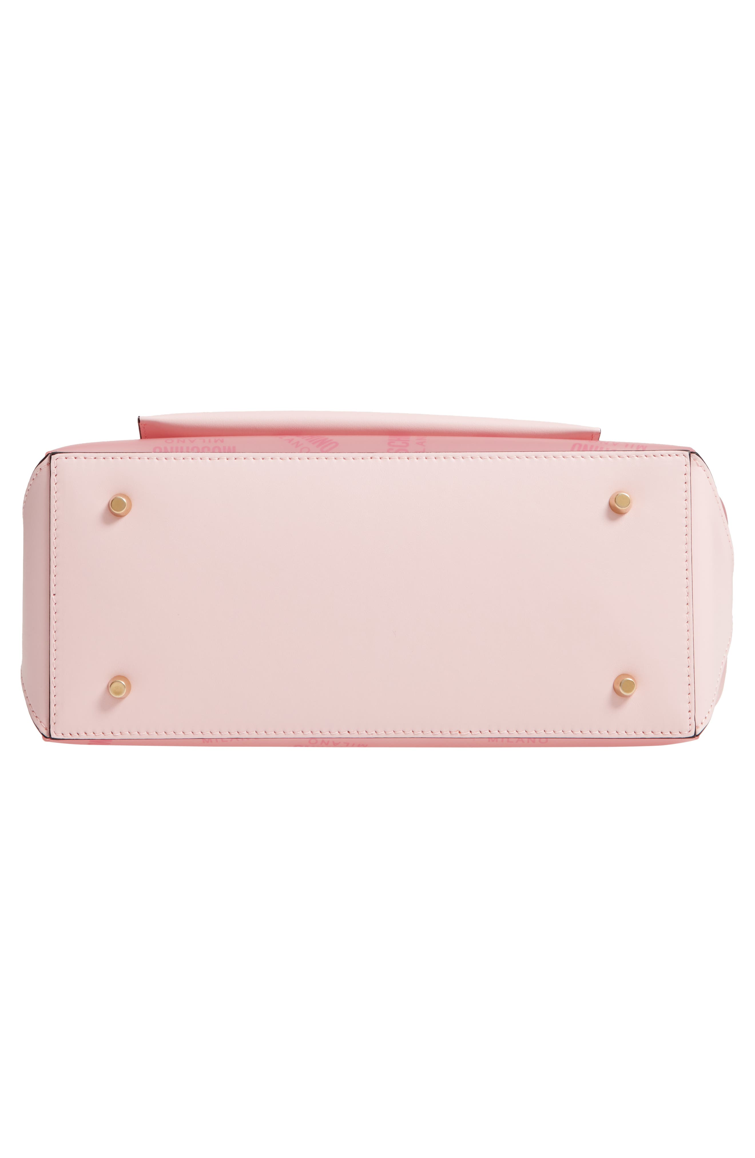 MOSCHINO,                             Translucent Logo Tote,                             Alternate thumbnail 6, color,                             PINK