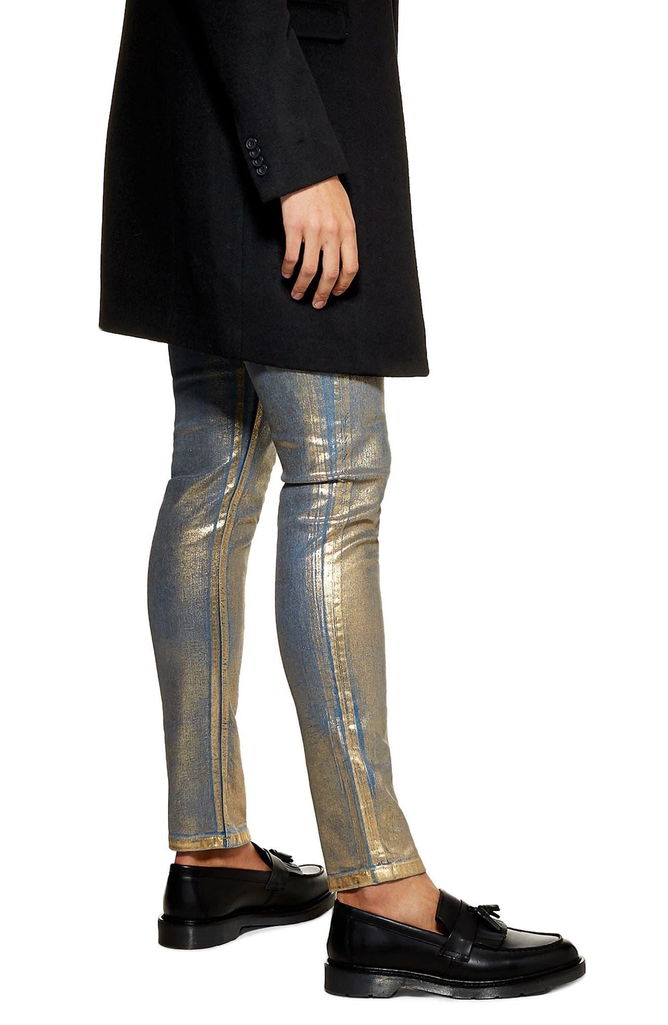 Lustre Stretch Skinny Jeans,                             Alternate thumbnail 2, color,                             GOLD