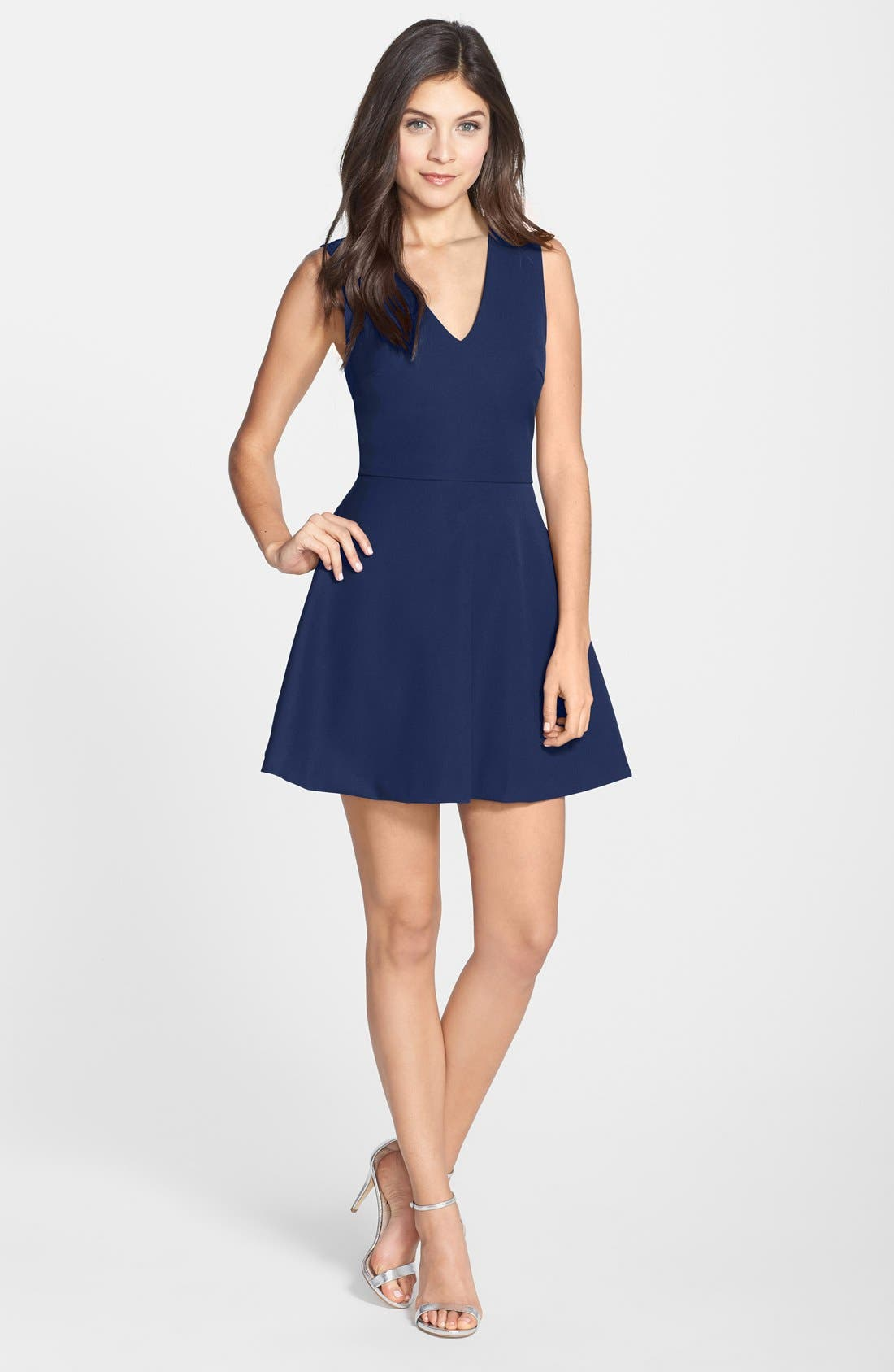 Bianca Back Cutout Fit & Flare Dress,                             Main thumbnail 4, color,
