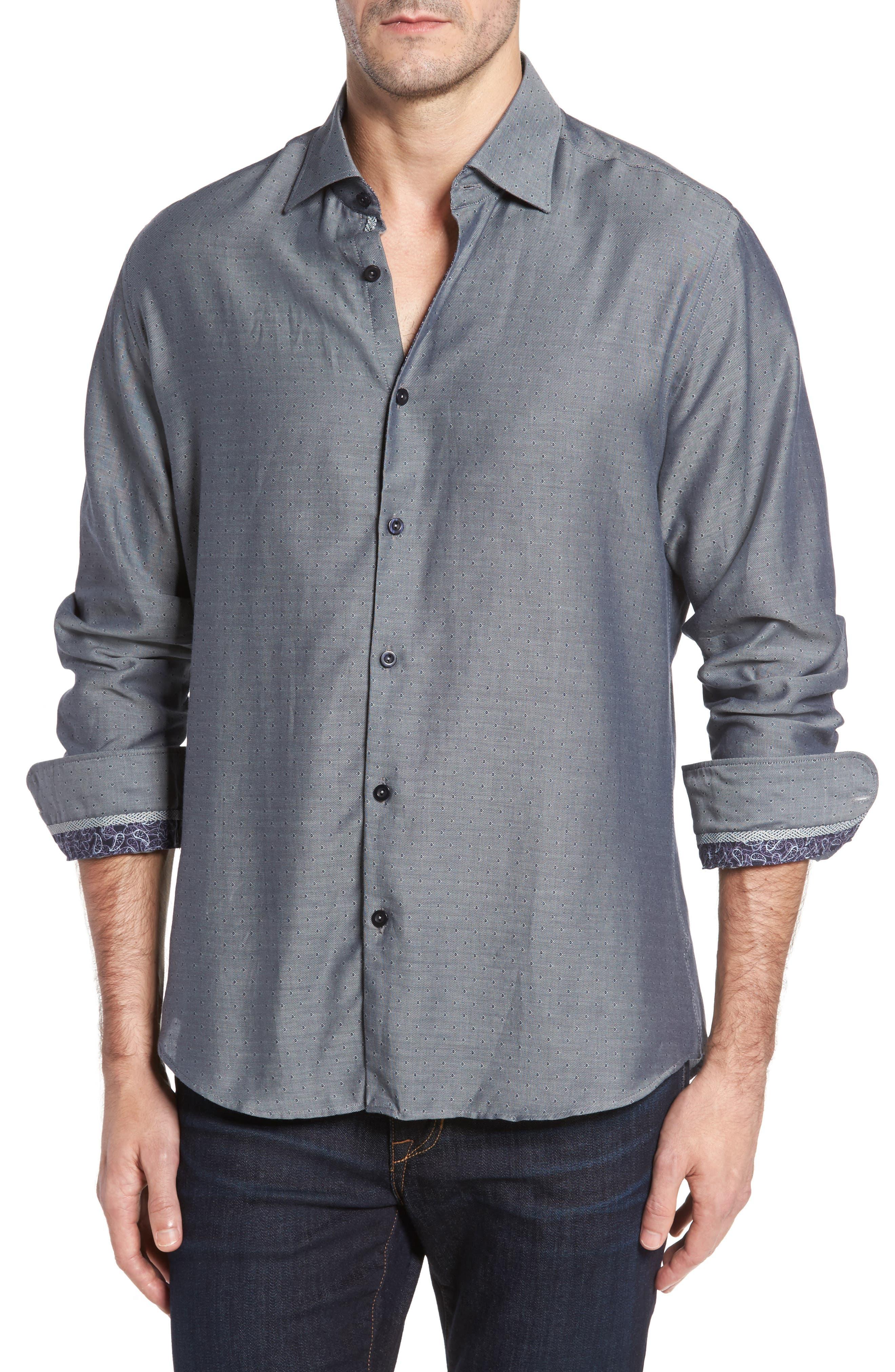 Slim Fit Diamond Twill Sport Shirt,                         Main,                         color, 020