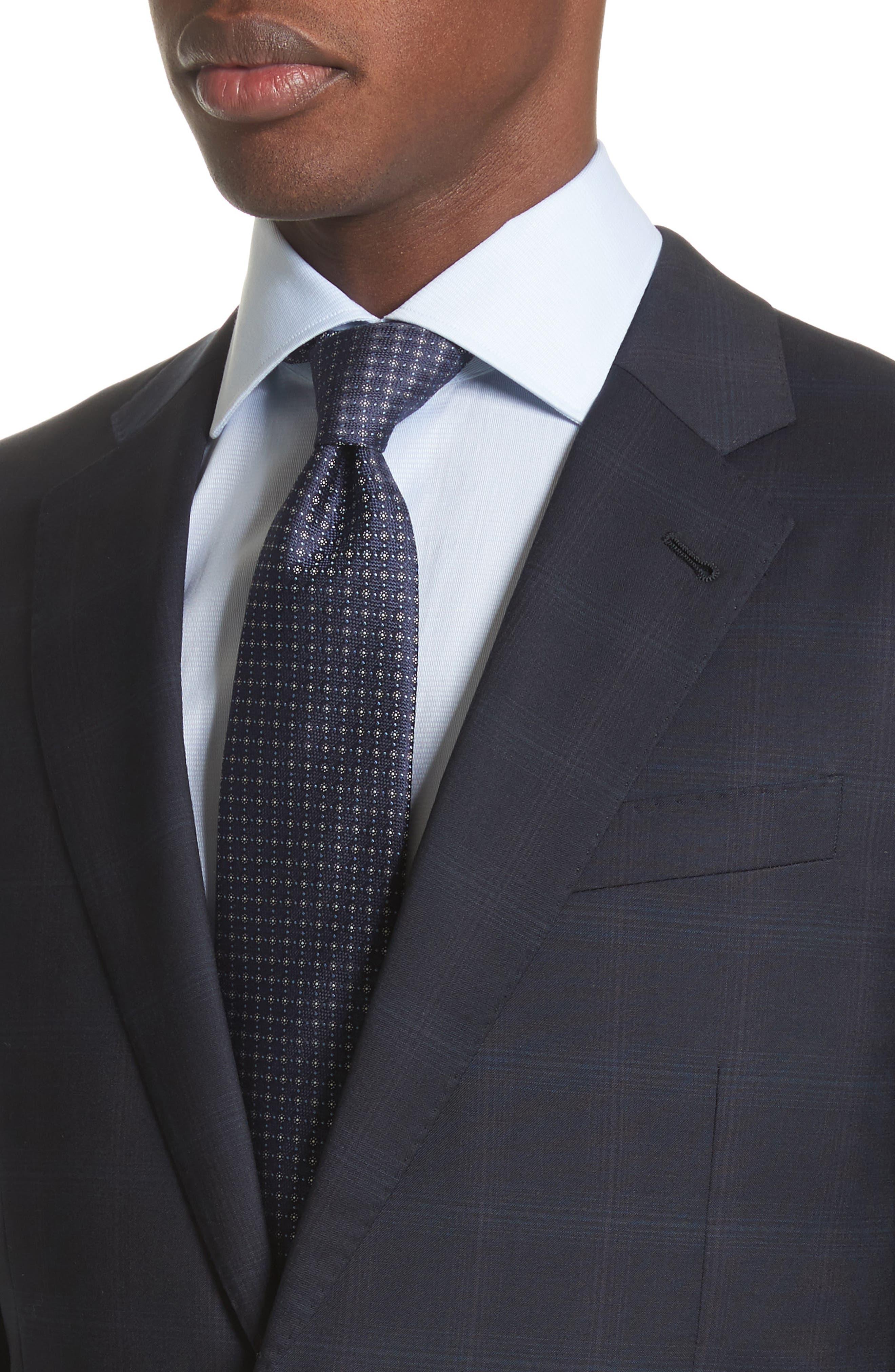 Trim Fit Plaid Wool Suit,                             Alternate thumbnail 4, color,                             465