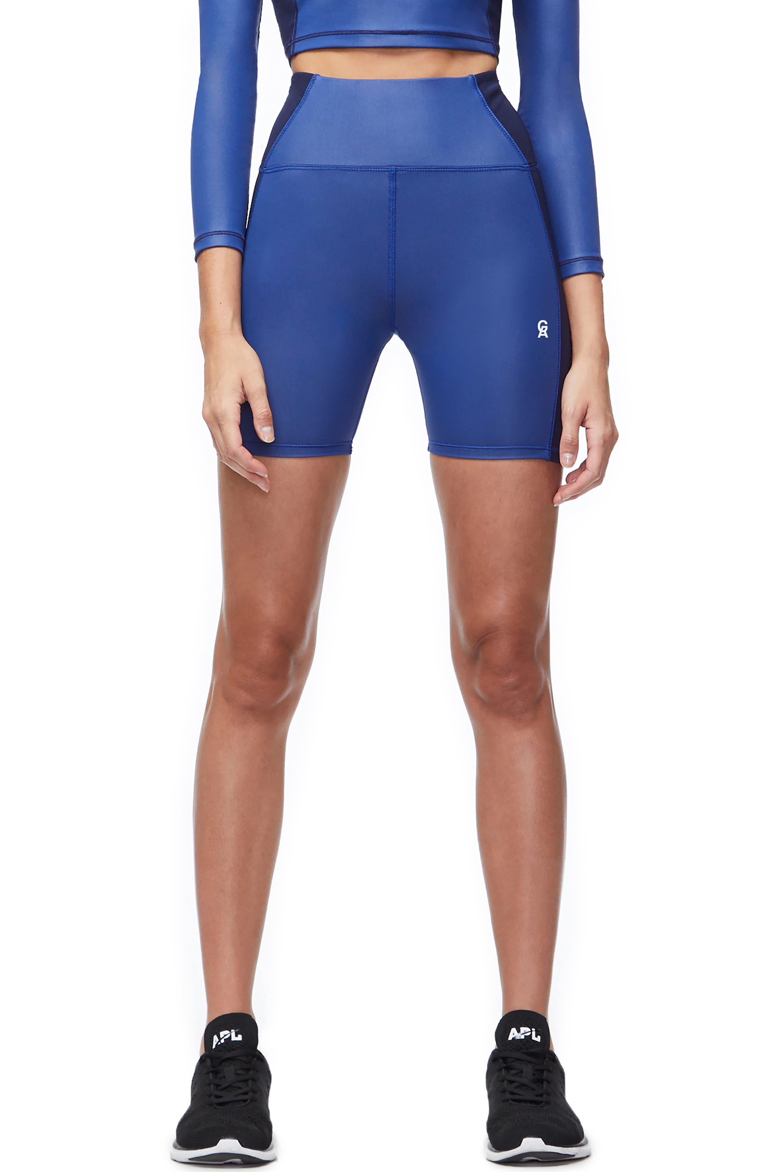 High Waist Biker Shorts, Main, color, BLUE001