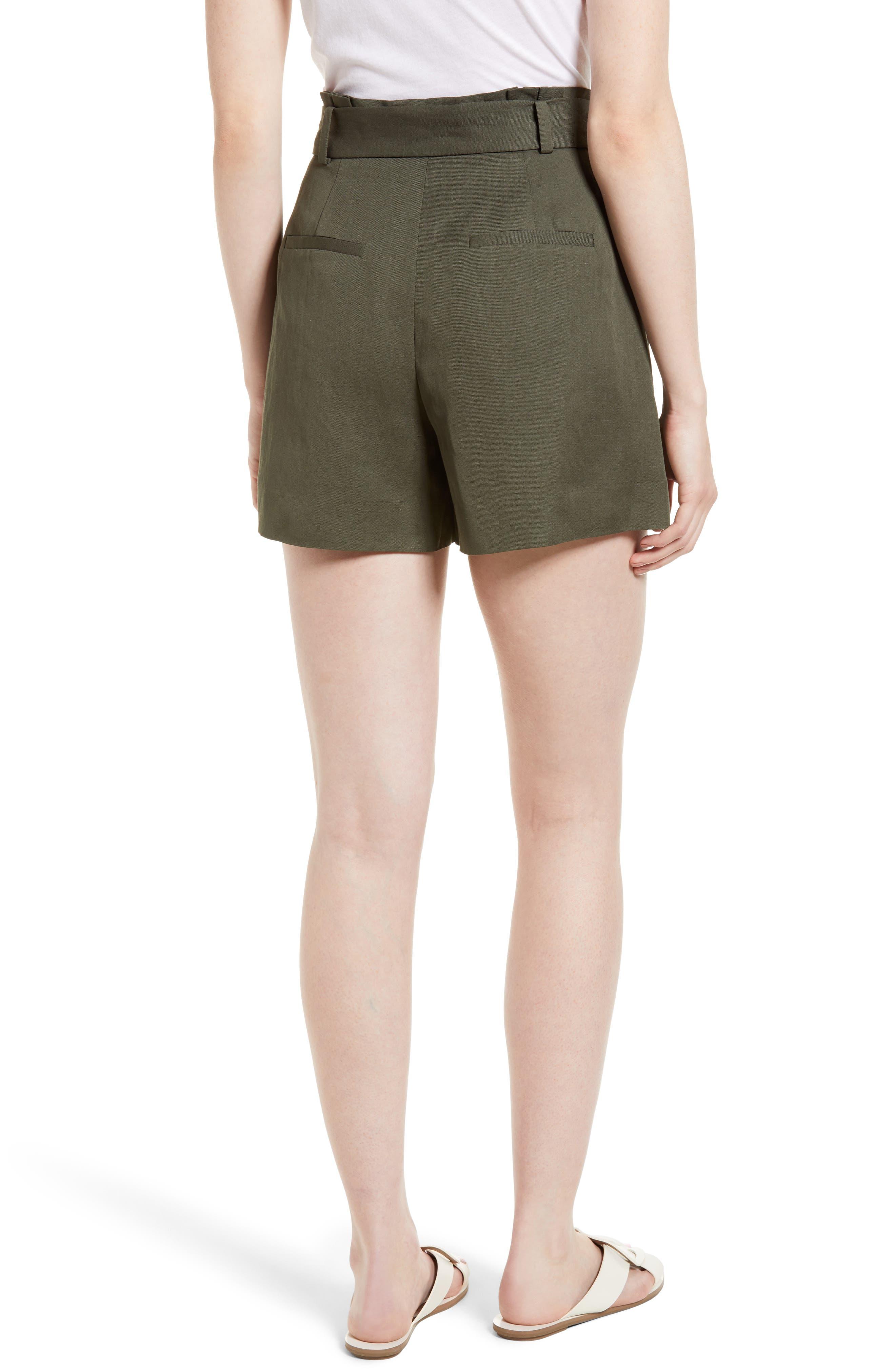 Paperbag Waist Linen & Cotton Blend Shorts,                             Alternate thumbnail 2, color,                             301