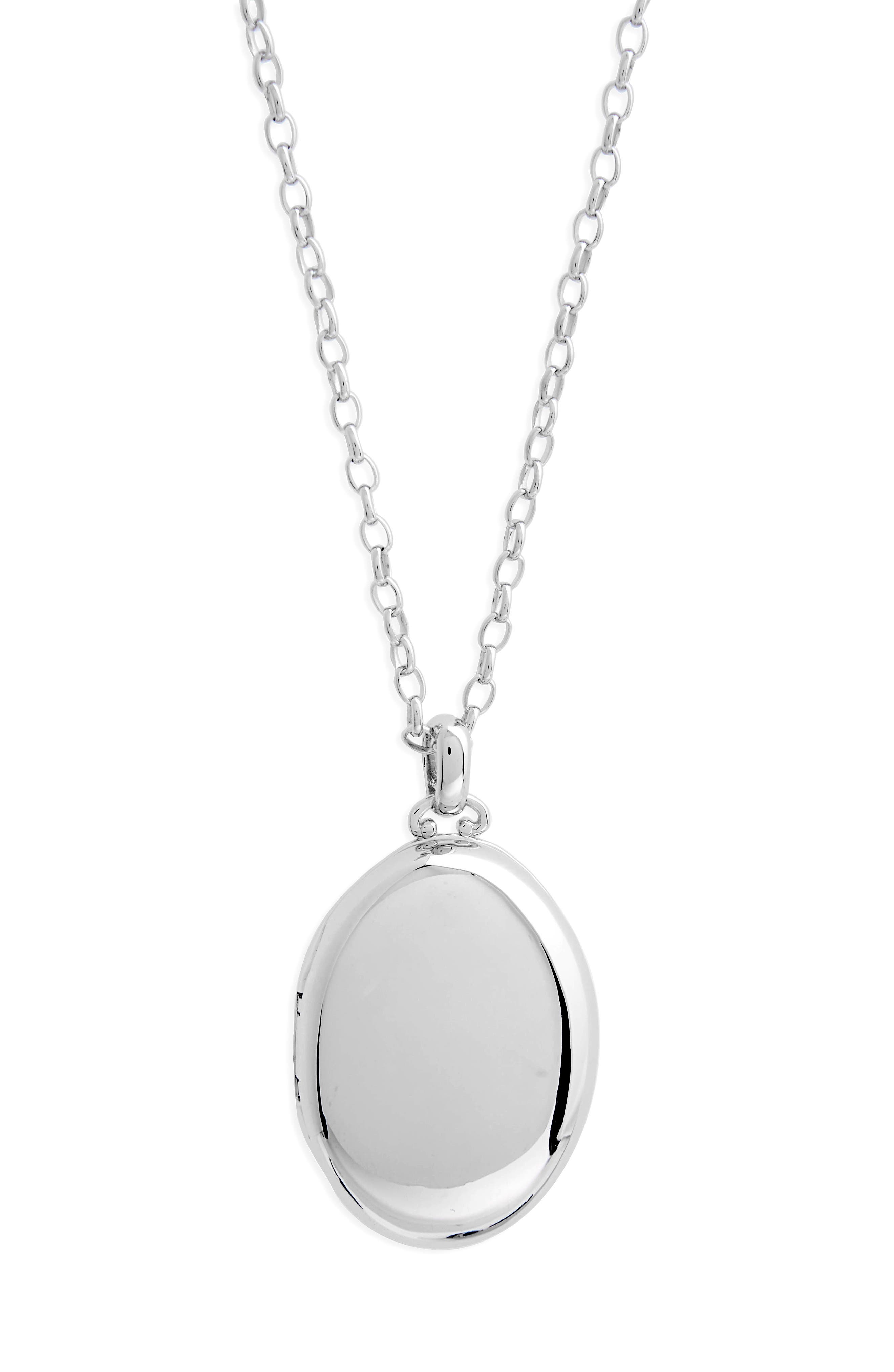 Four Image Oval Locket Necklace,                             Alternate thumbnail 2, color,                             STERLING SILVER
