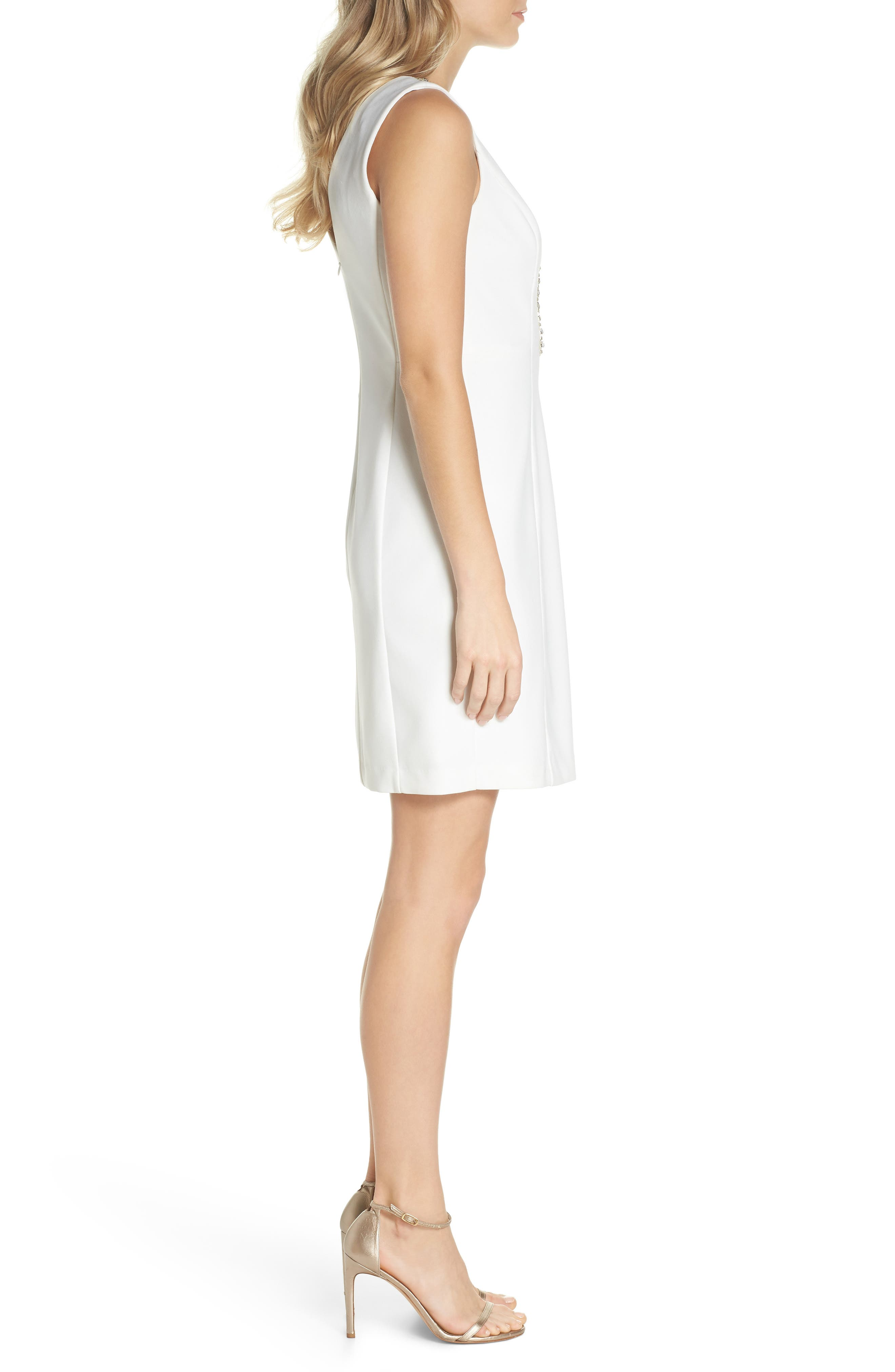 Beaded V-Neck Sheath Dress,                             Alternate thumbnail 3, color,                             900