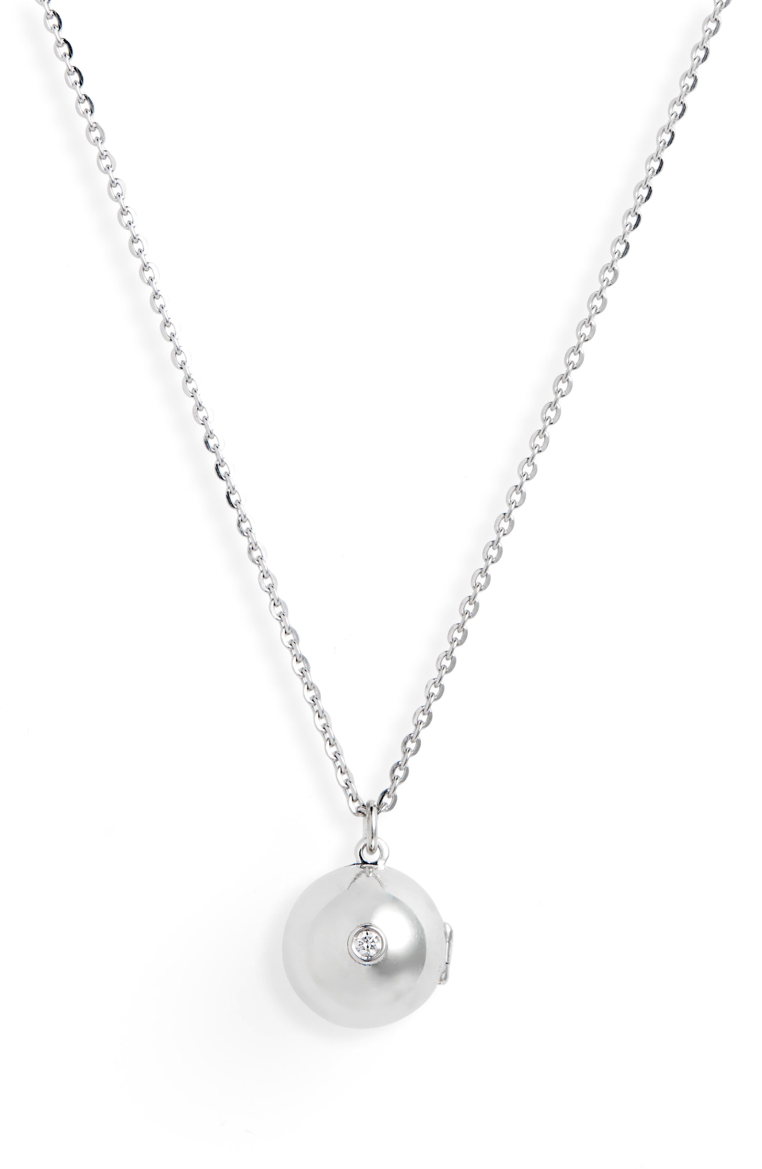 Boob Diamond Locket Necklace,                             Main thumbnail 1, color,                             SILVER