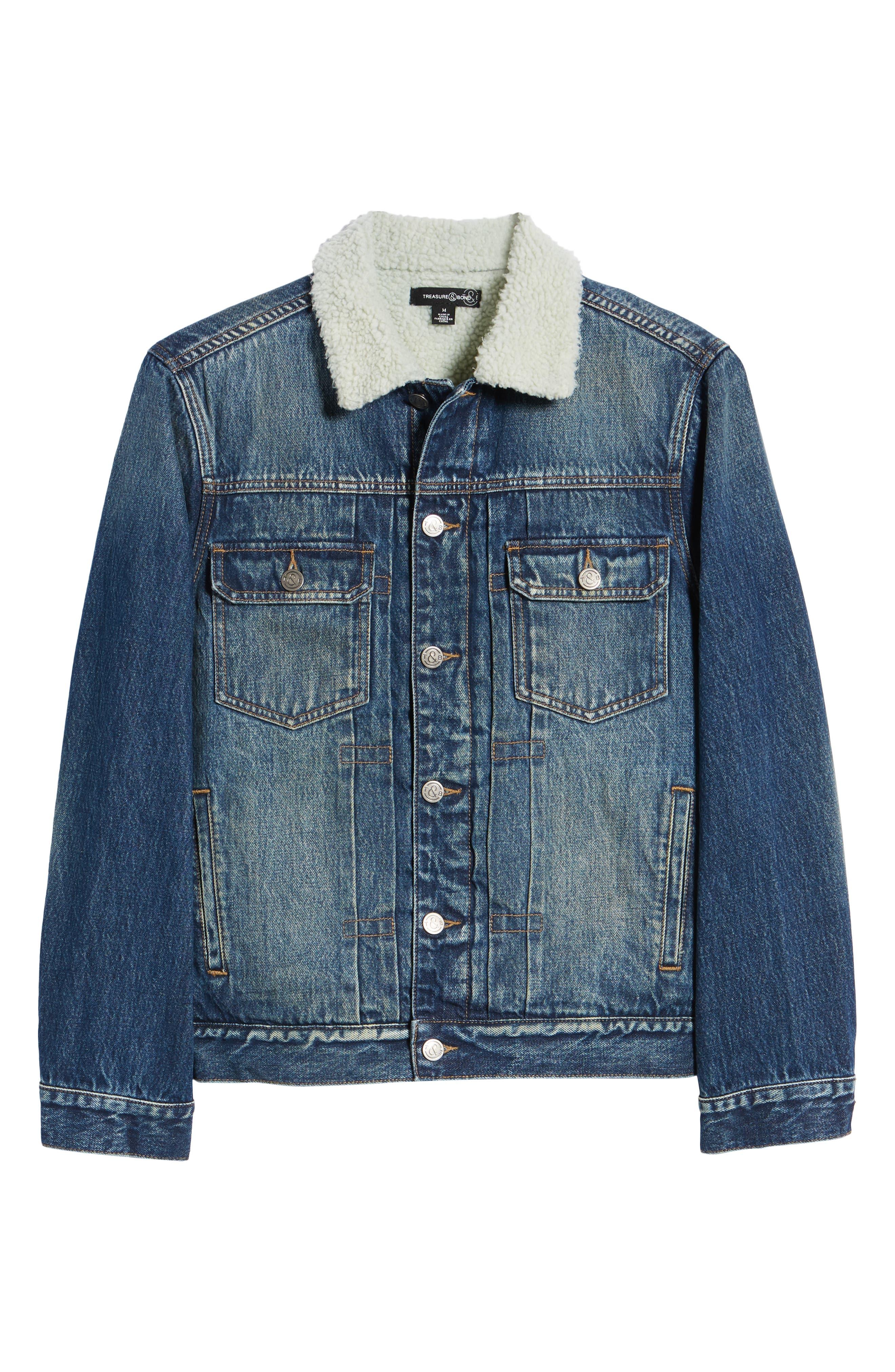 Denim Jacket with Faux Shearling Collar,                             Alternate thumbnail 6, color,                             BLUE MEDIUM DENIM