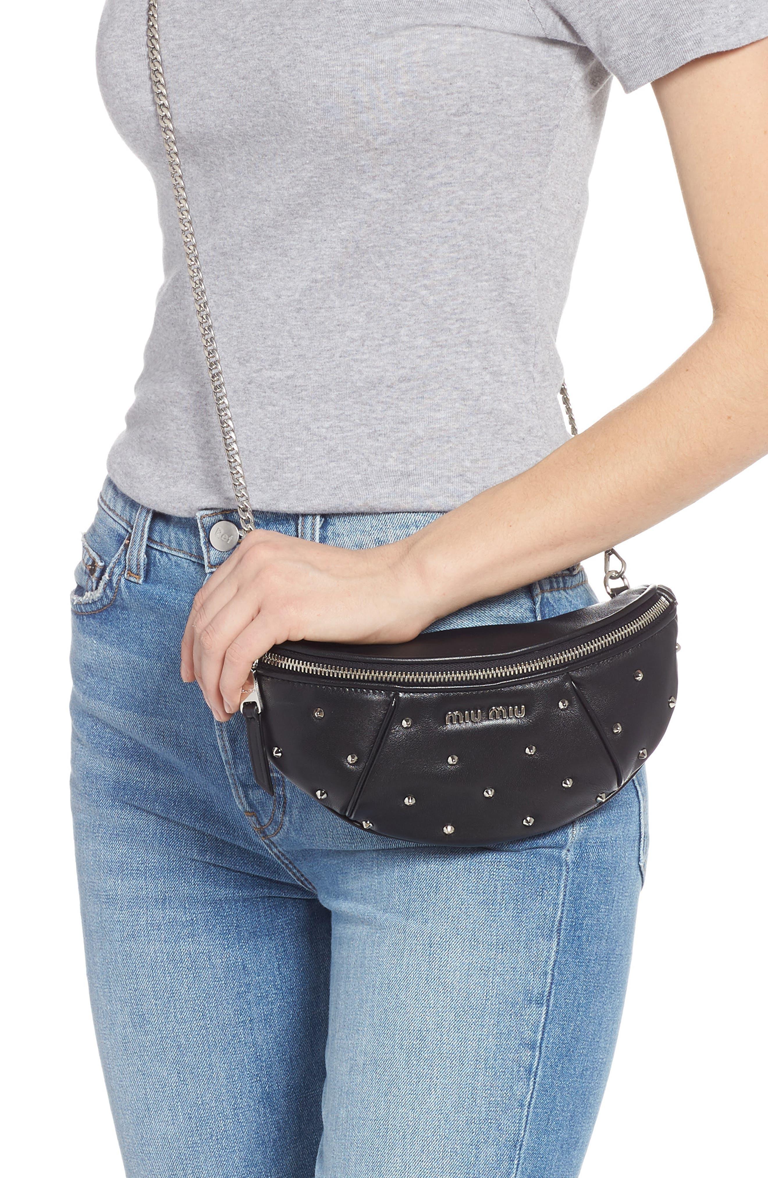 Studded Lambskin Leather Belt Bag,                             Alternate thumbnail 4, color,                             NERO