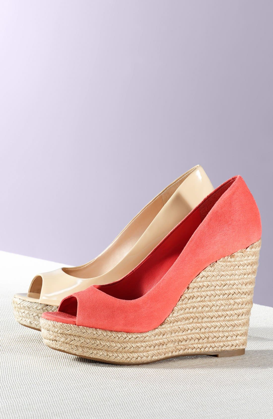 'Totsi' Peep Toe Espadrille Wedge,                             Alternate thumbnail 5, color,                             001