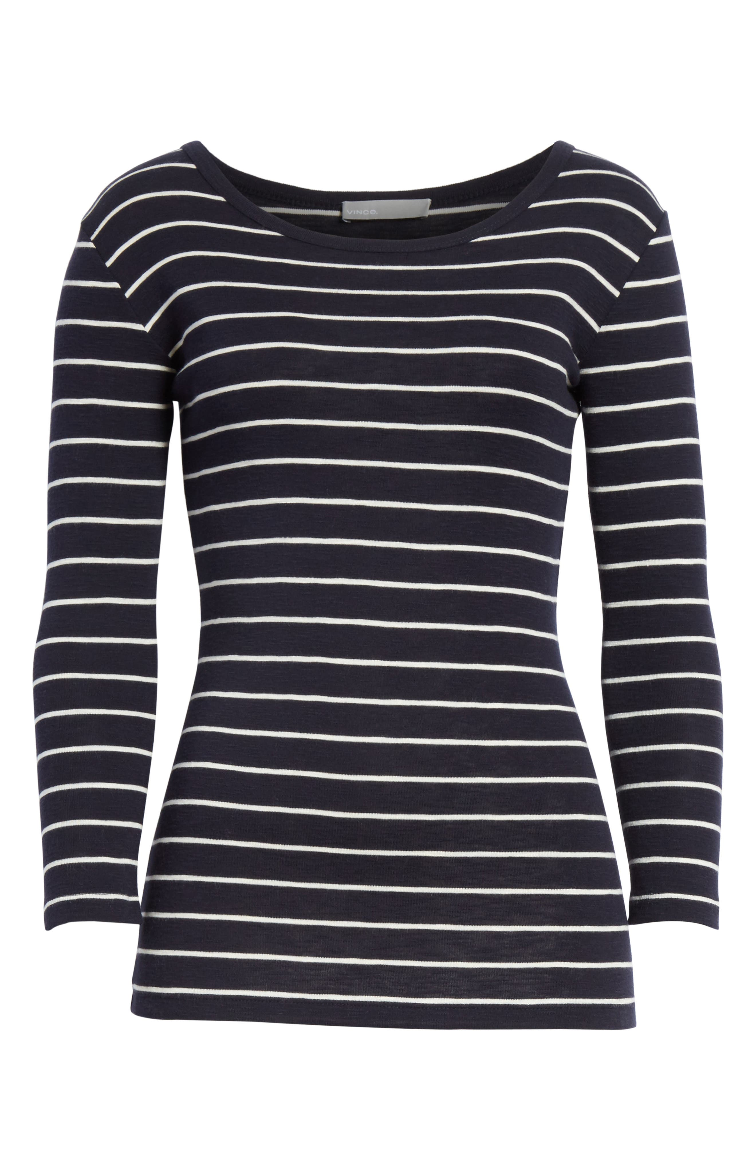 Chalk Stripe Fitted Crewneck Tee,                             Alternate thumbnail 6, color,                             467