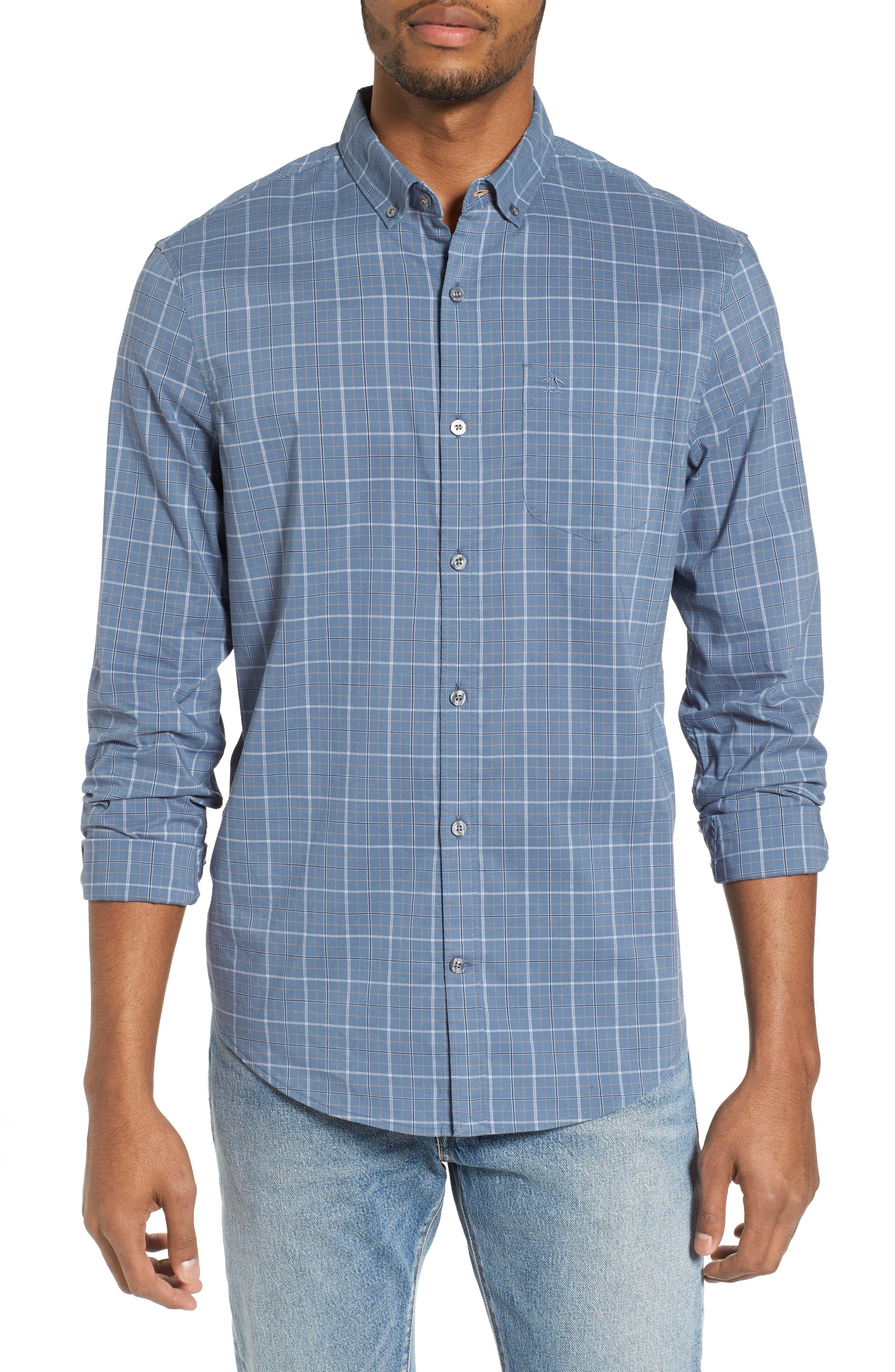 Slim Fit Plaid Woven Shirt,                             Main thumbnail 1, color,