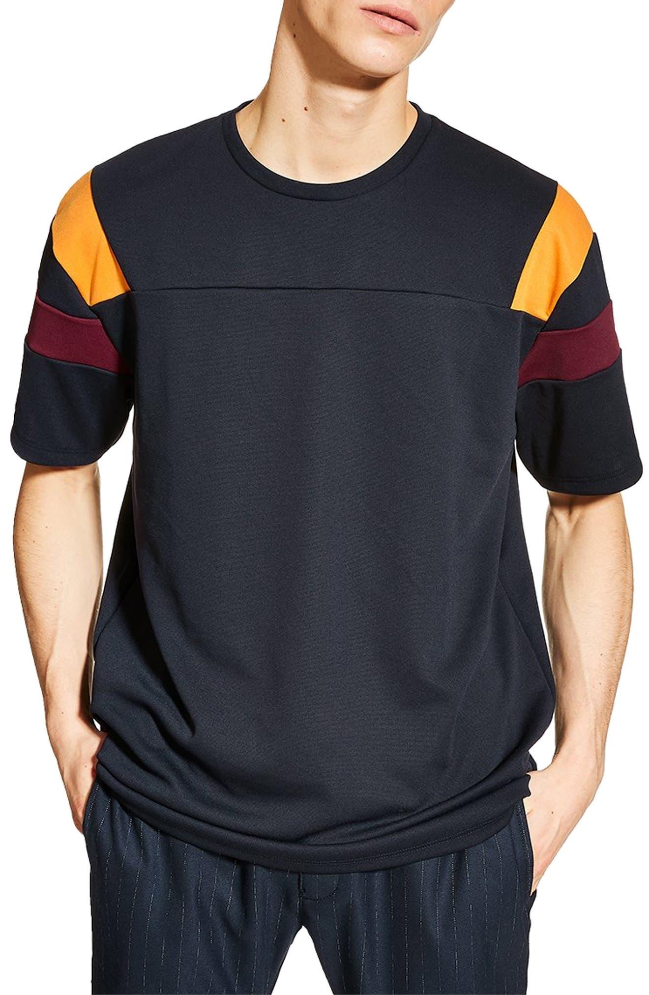 Oversize Panel T-Shirt, Main, color, NAVY/ BURGUNDY