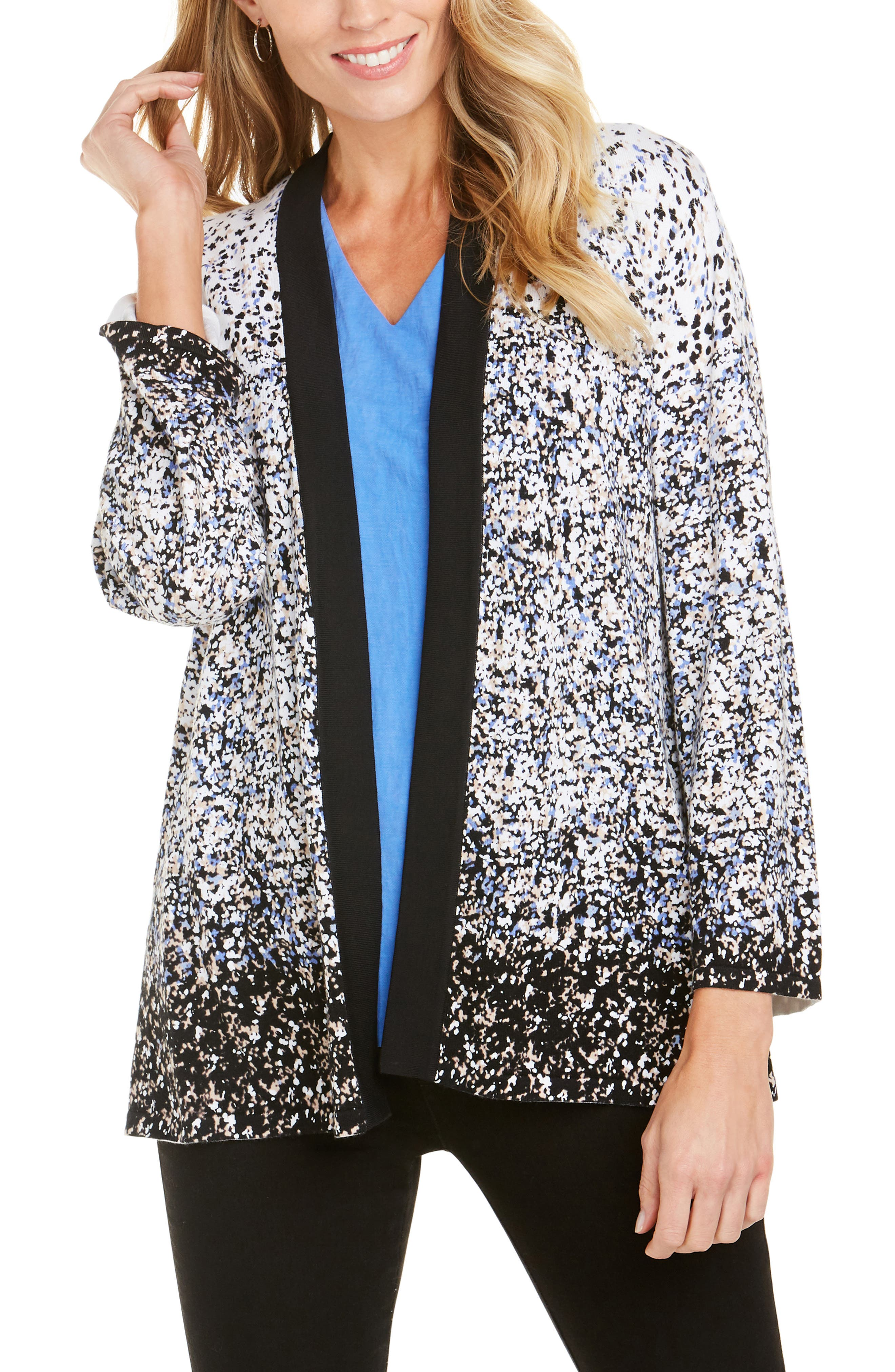 FOXCROFT Florence Ombre Dot Cardigan in Black Multi