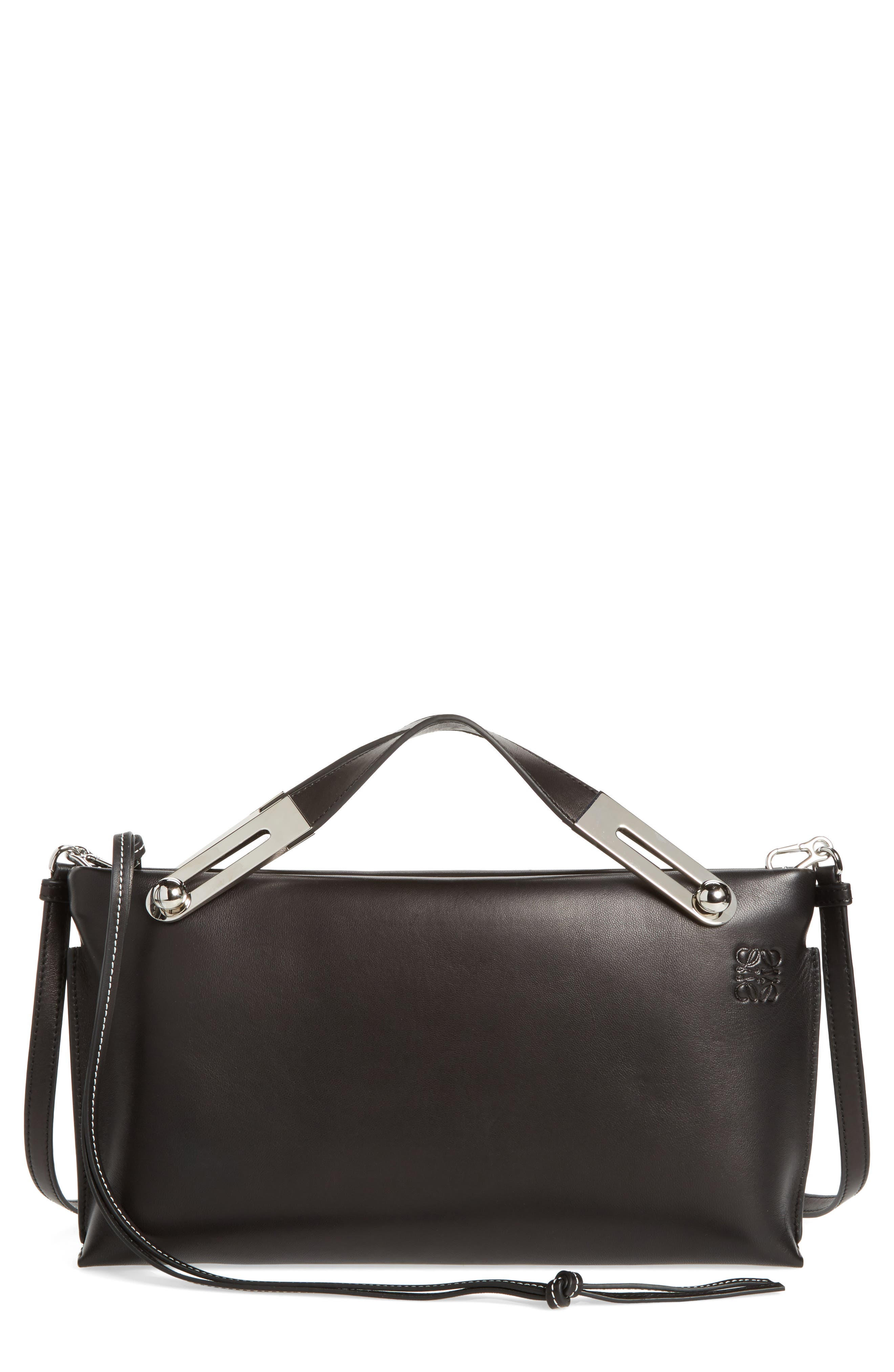 Missy Lambskin Leather Shoulder Bag,                             Main thumbnail 1, color,                             BLACK
