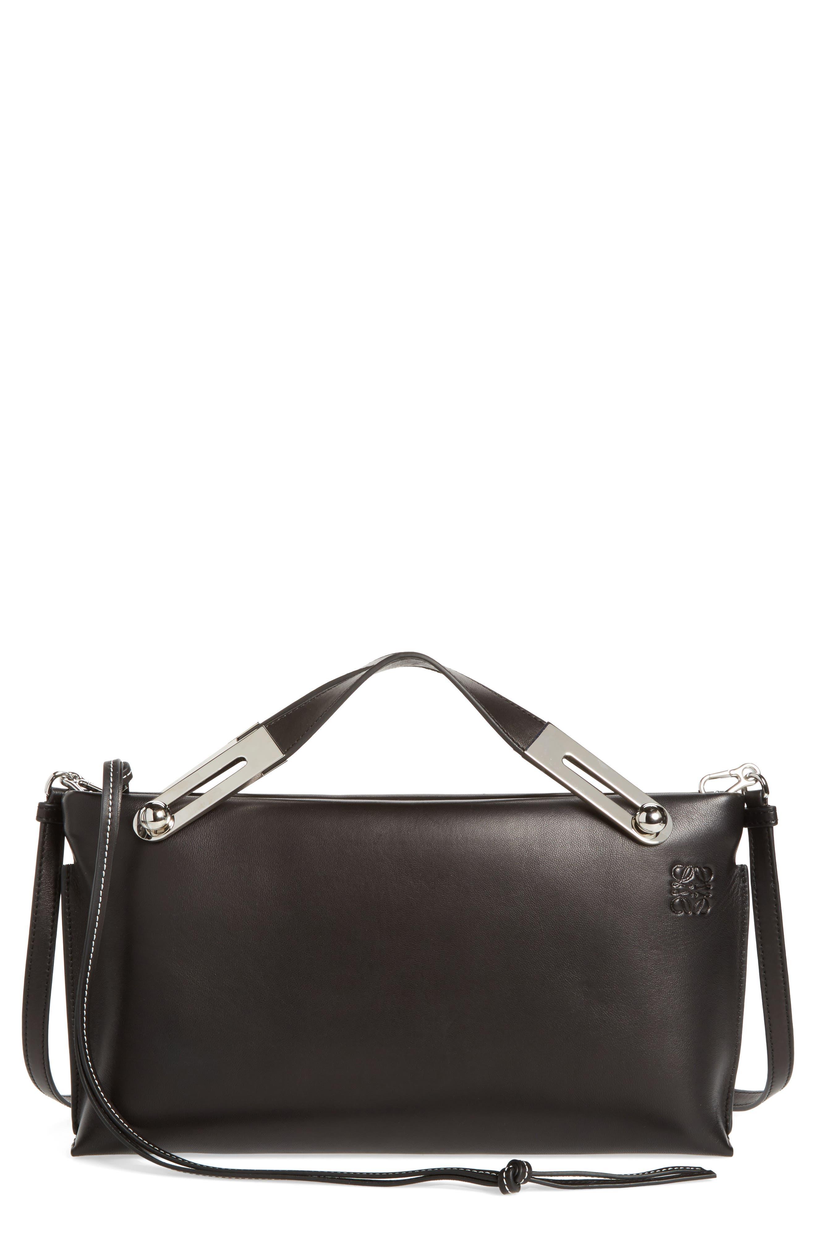 Missy Lambskin Leather Shoulder Bag,                         Main,                         color, BLACK