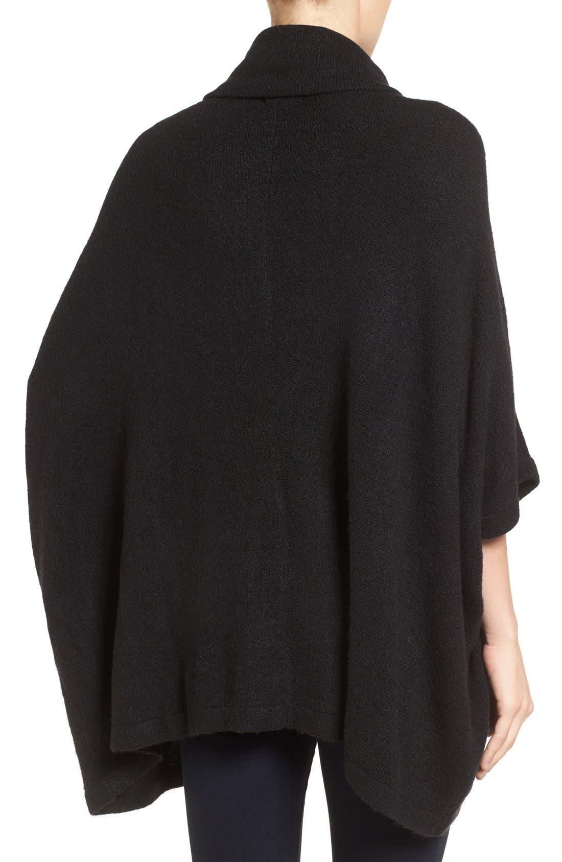 Cowl Neck Sweater Poncho,                             Alternate thumbnail 2, color,                             BLACK