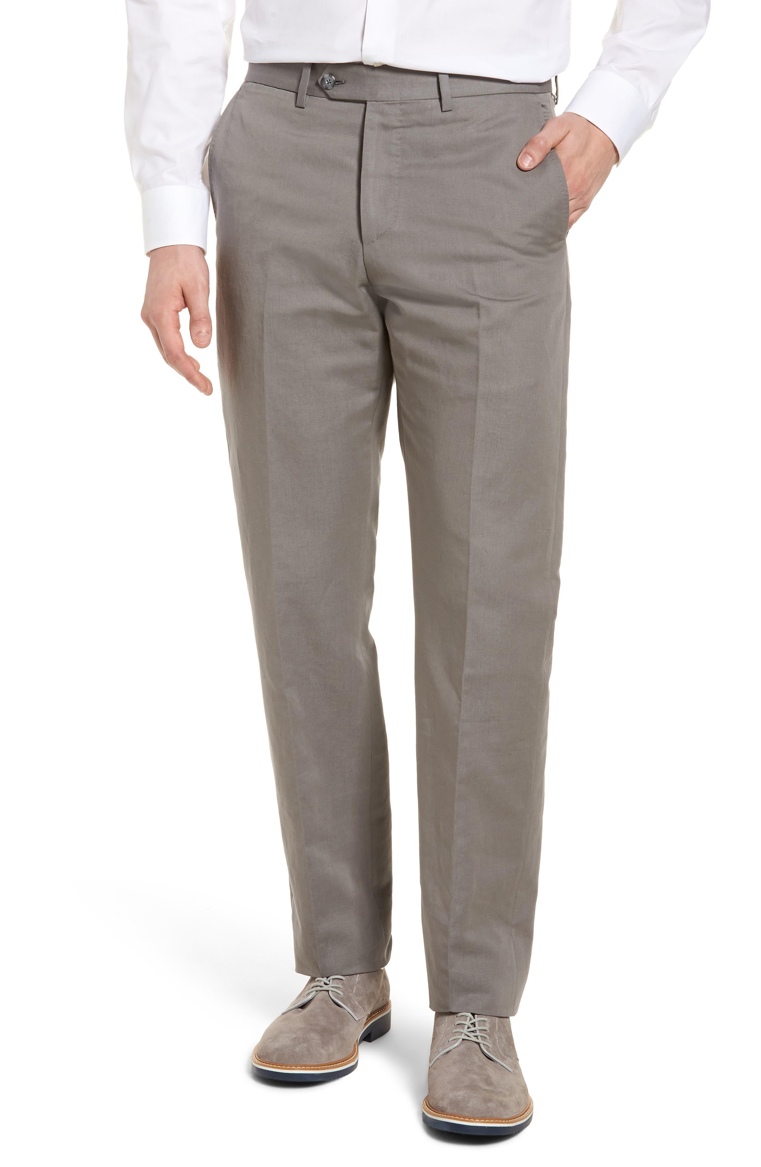 Flat Front Solid Cotton & Linen Trousers,                         Main,                         color, 030