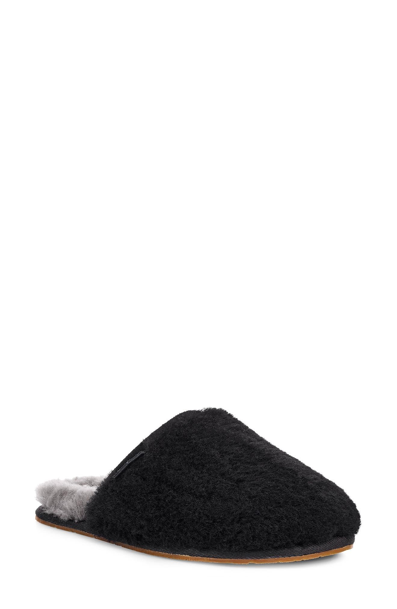 Fluffette Slipper, Main, color, BLACK WOOL