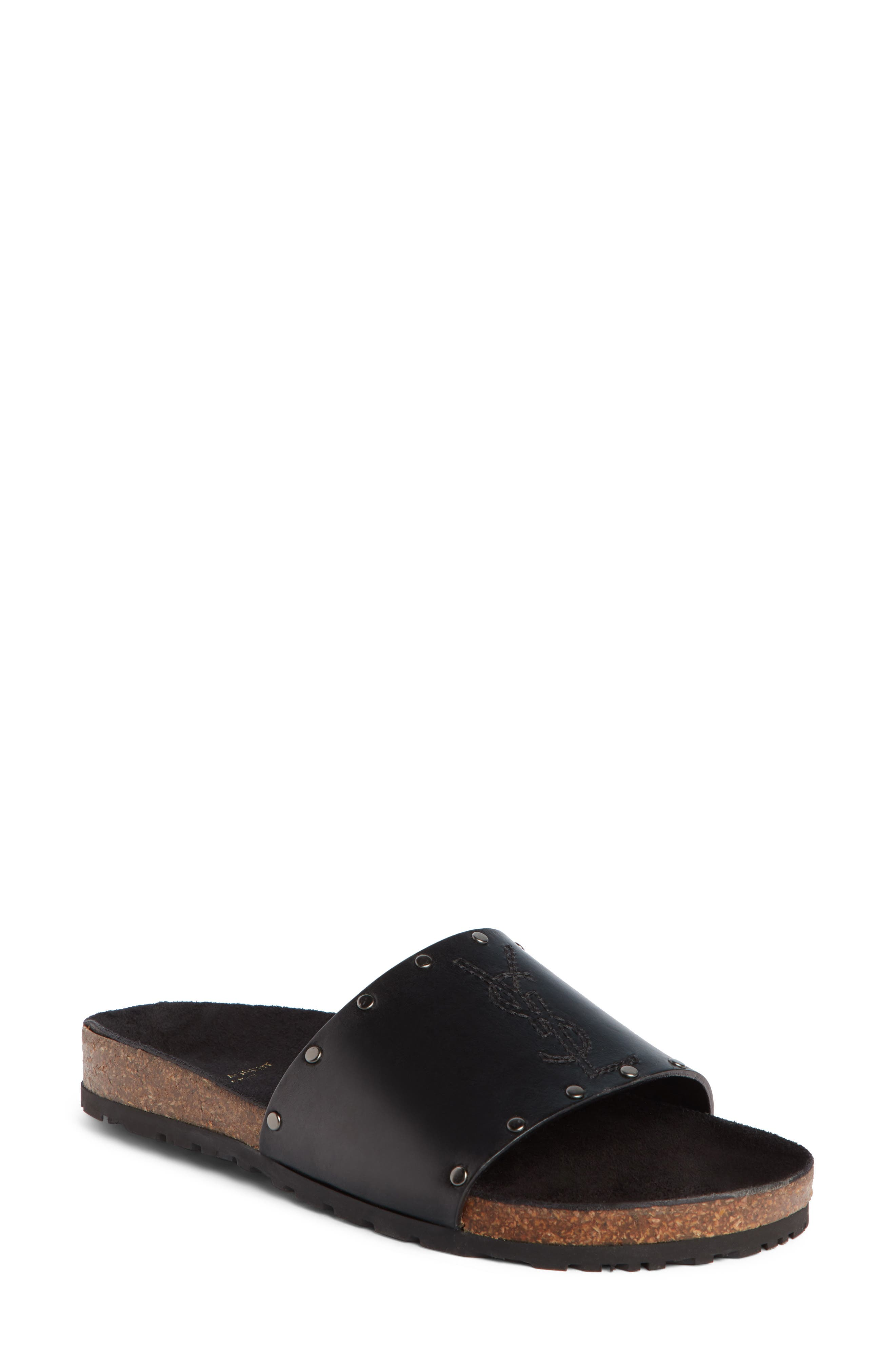 Jimmy Logo Stud Slide Sandal,                             Main thumbnail 1, color,                             BLACK LEATHER