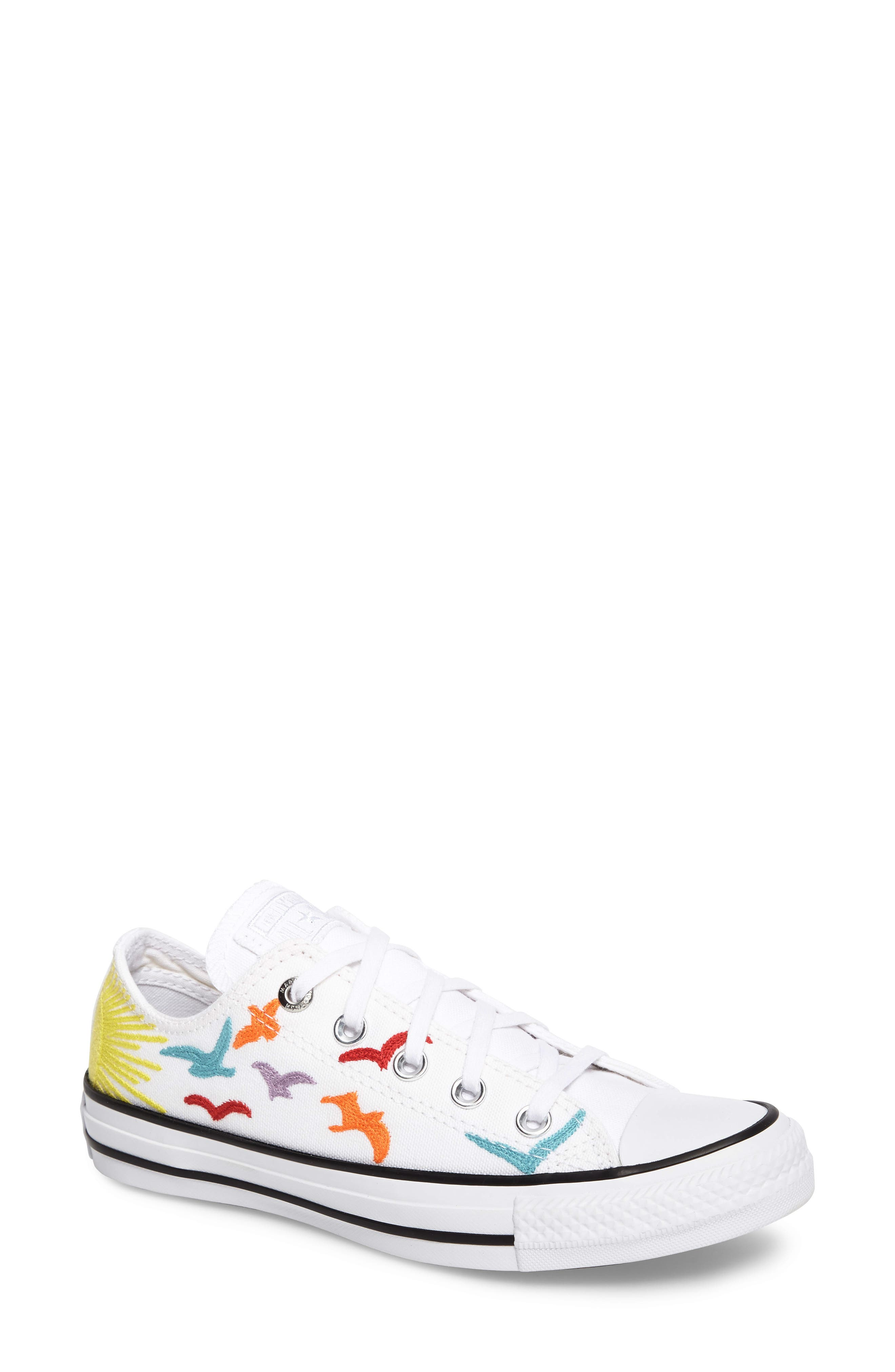 x Mara Hoffman All Star<sup>®</sup> Embroidered Ox Sneaker, Main, color, 100