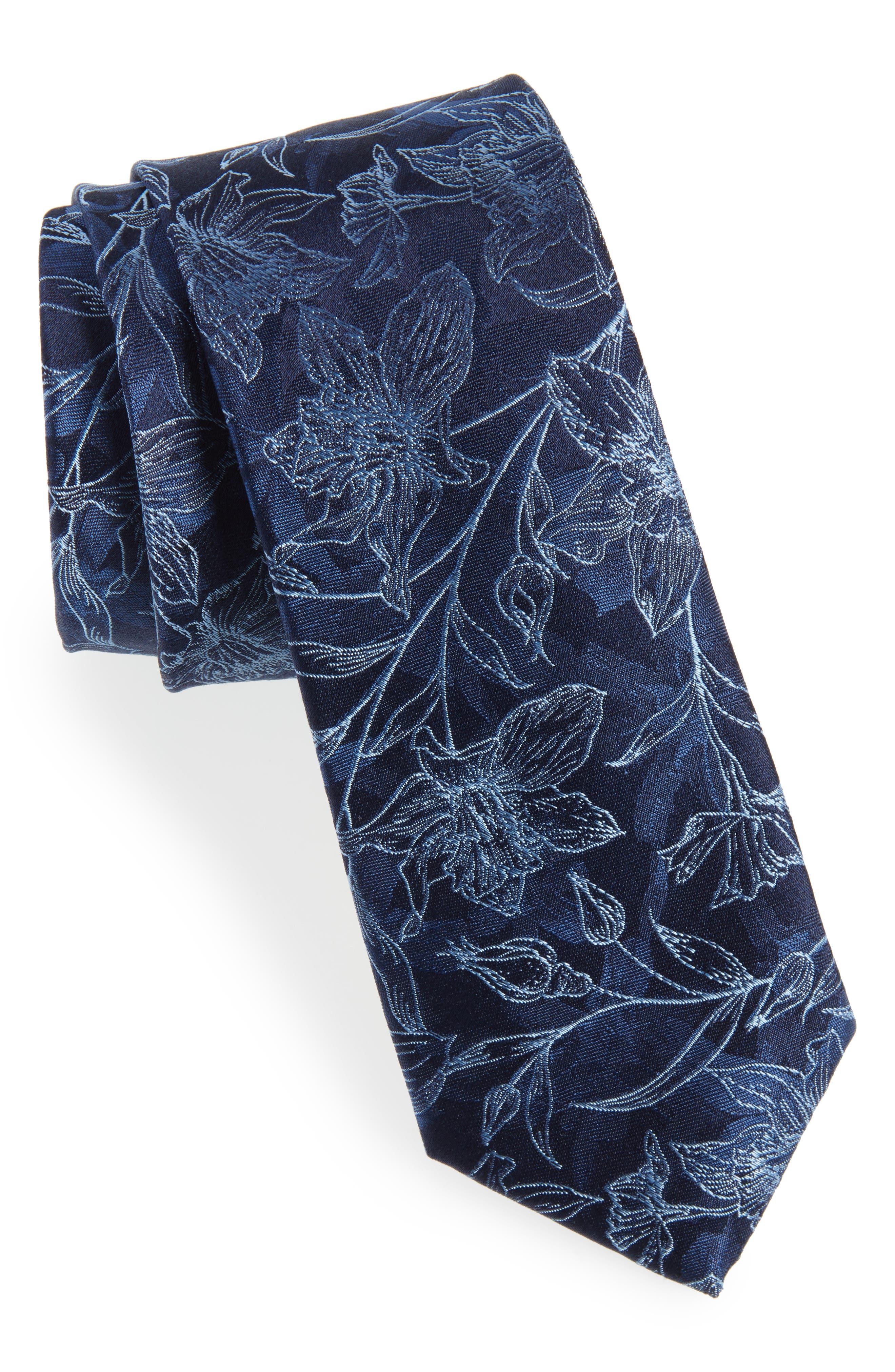 Warren Floral Silk Tie,                             Main thumbnail 1, color,                             412