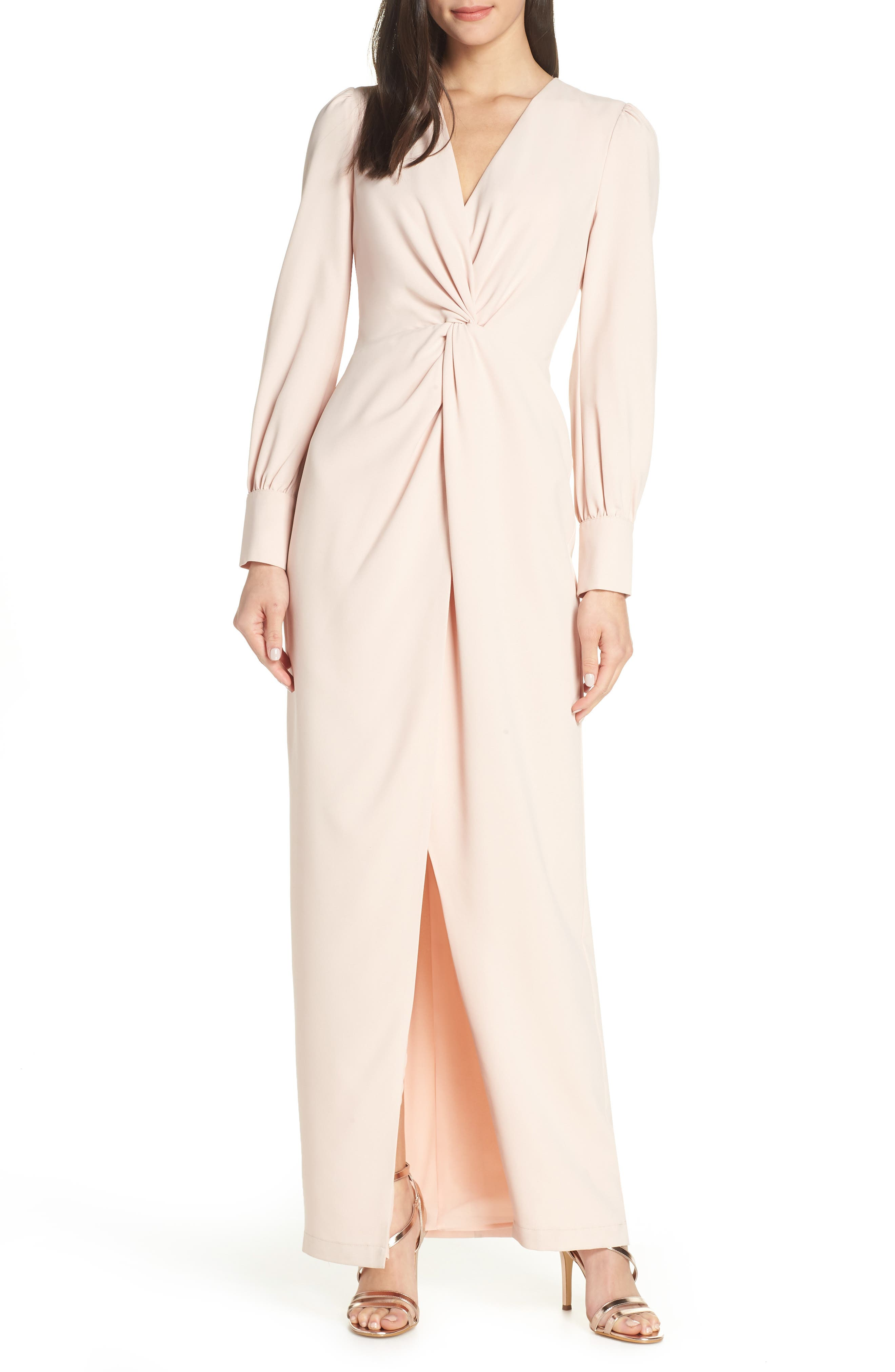 Harlyn Twist Front Faux Wrap Gown, Pink