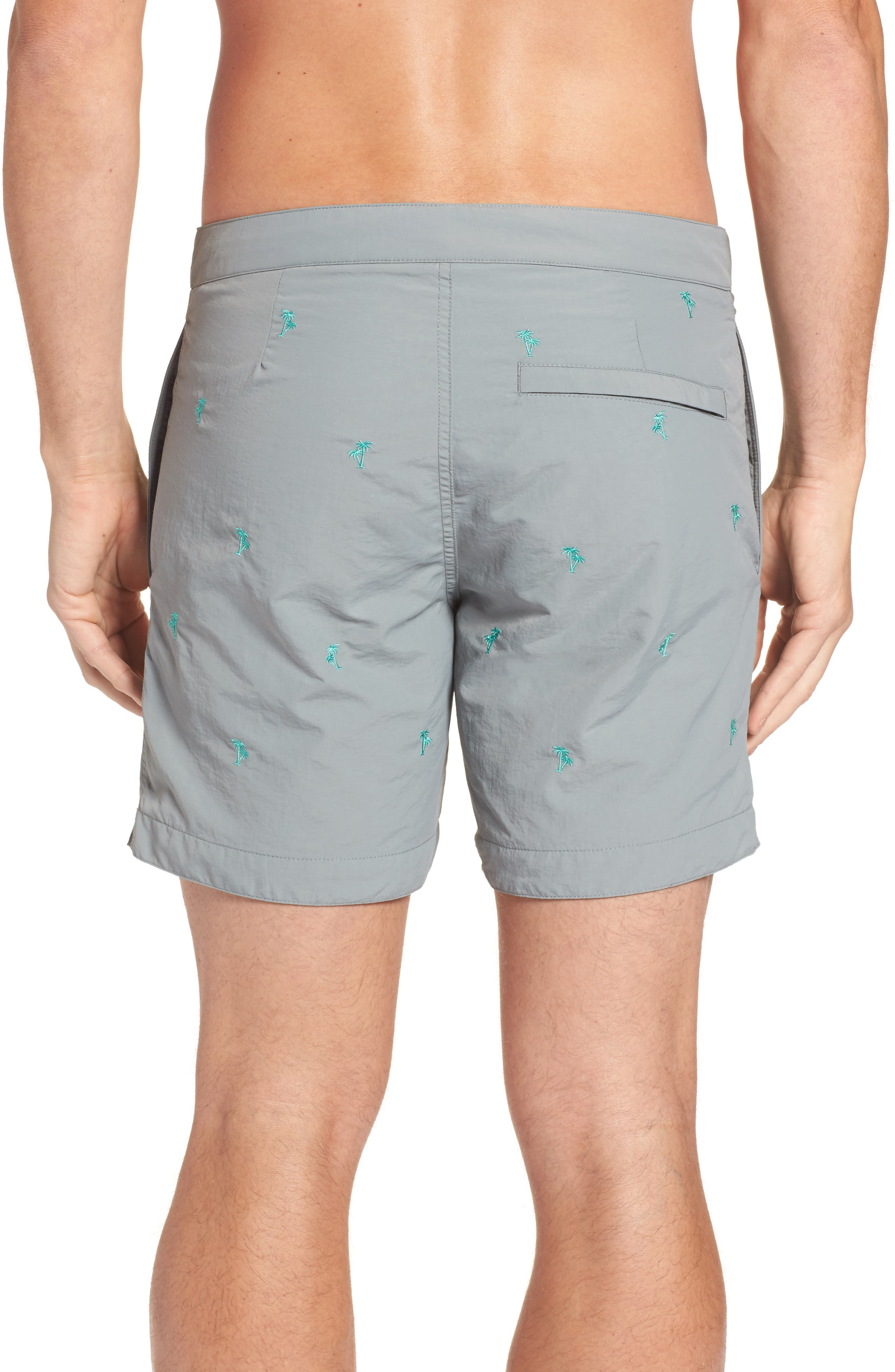 Aruba Tailored Fit Embroidered Palm Swim Trunks,                             Alternate thumbnail 2, color,                             031