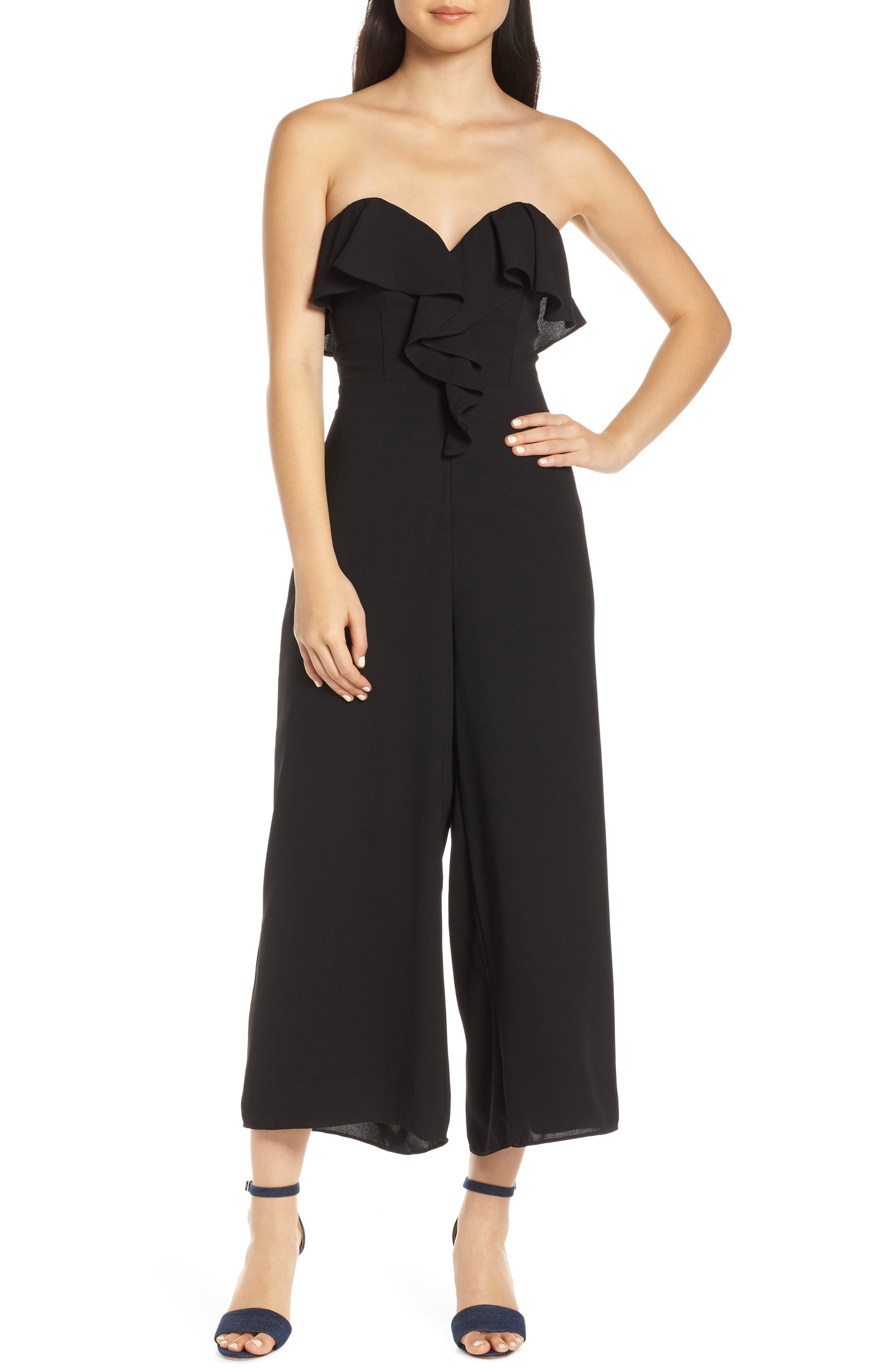 CHELSEA28 Strapless Ruffle Front Jumpsuit, Main, color, BLACK