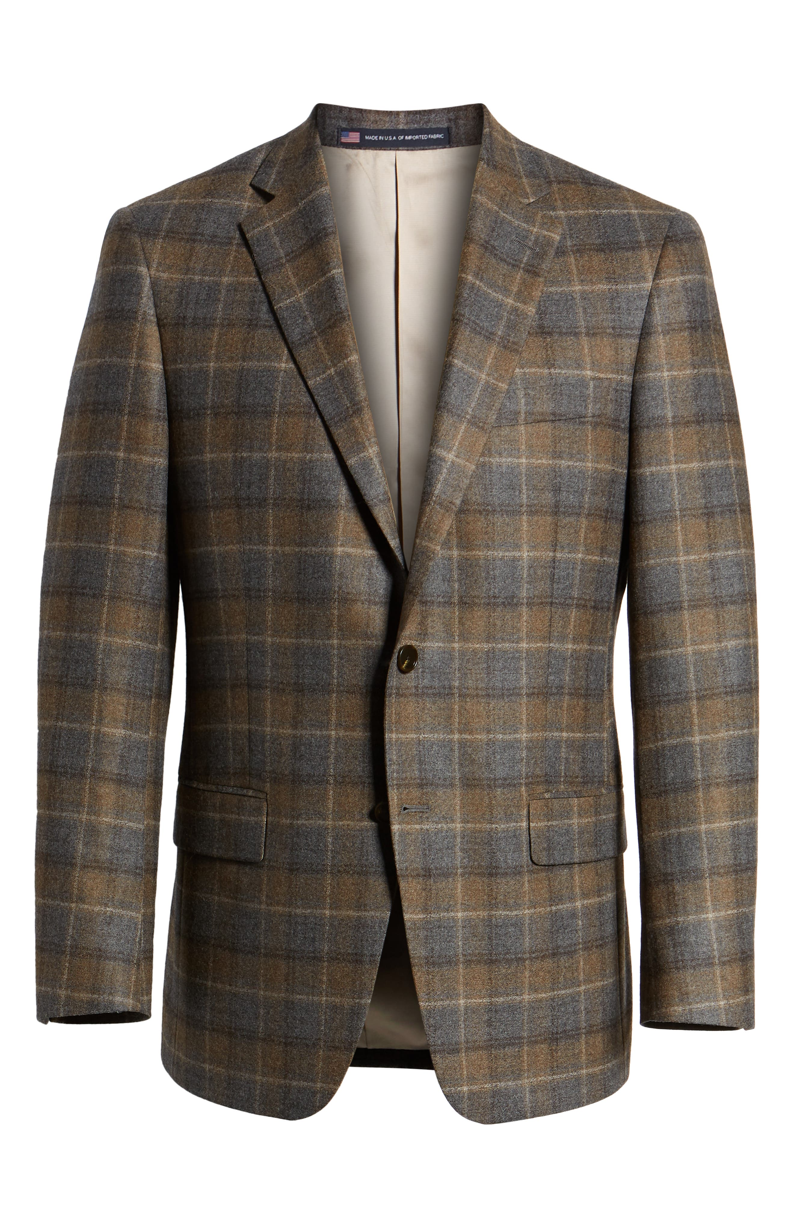 HART SCHAFFNER MARX,                             Classic Fit Plaid Wool Sport Coat,                             Alternate thumbnail 5, color,                             BROWN