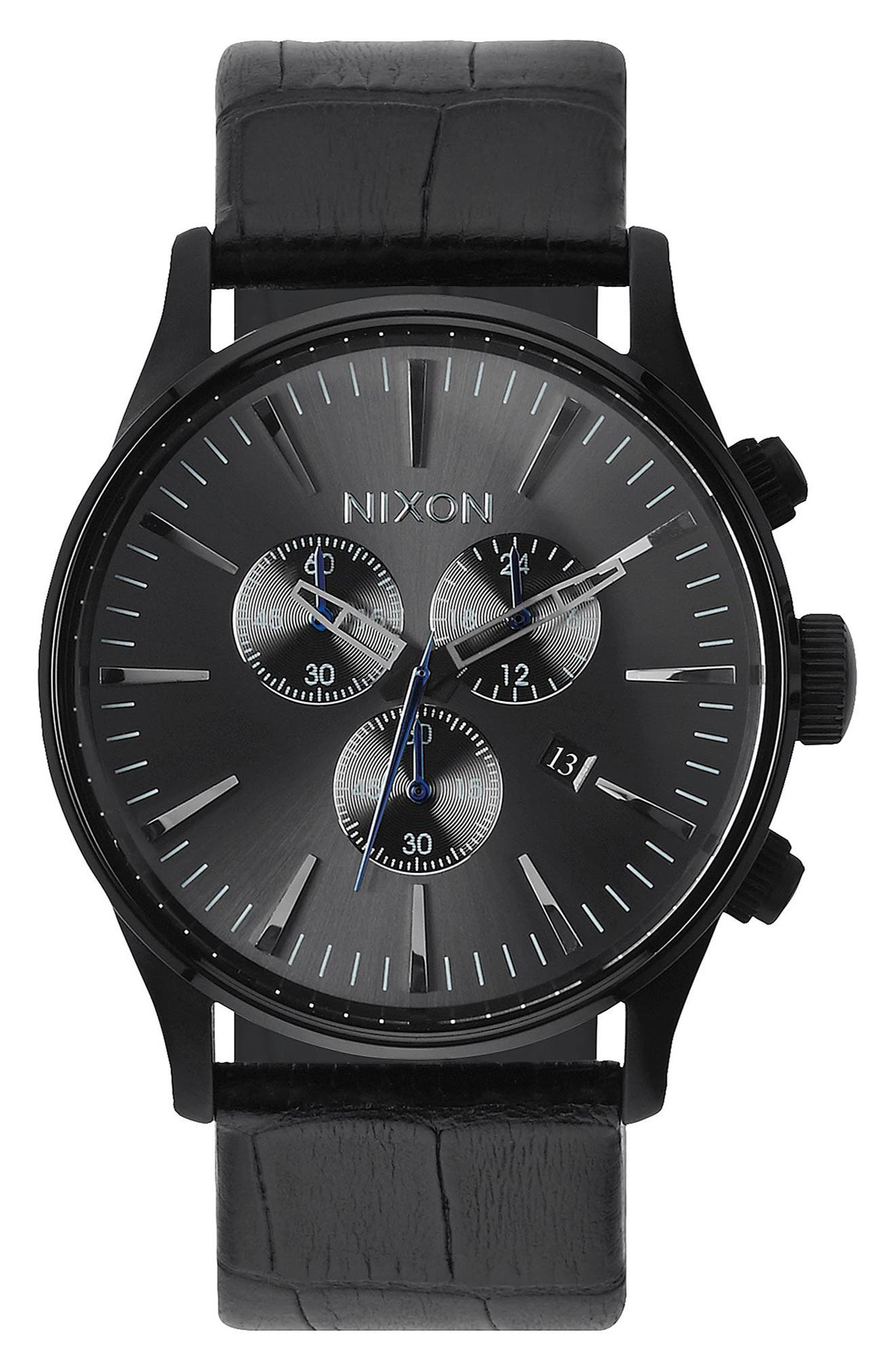 The Sentry Chronograph Leather Strap Watch, 42mm,                             Main thumbnail 2, color,