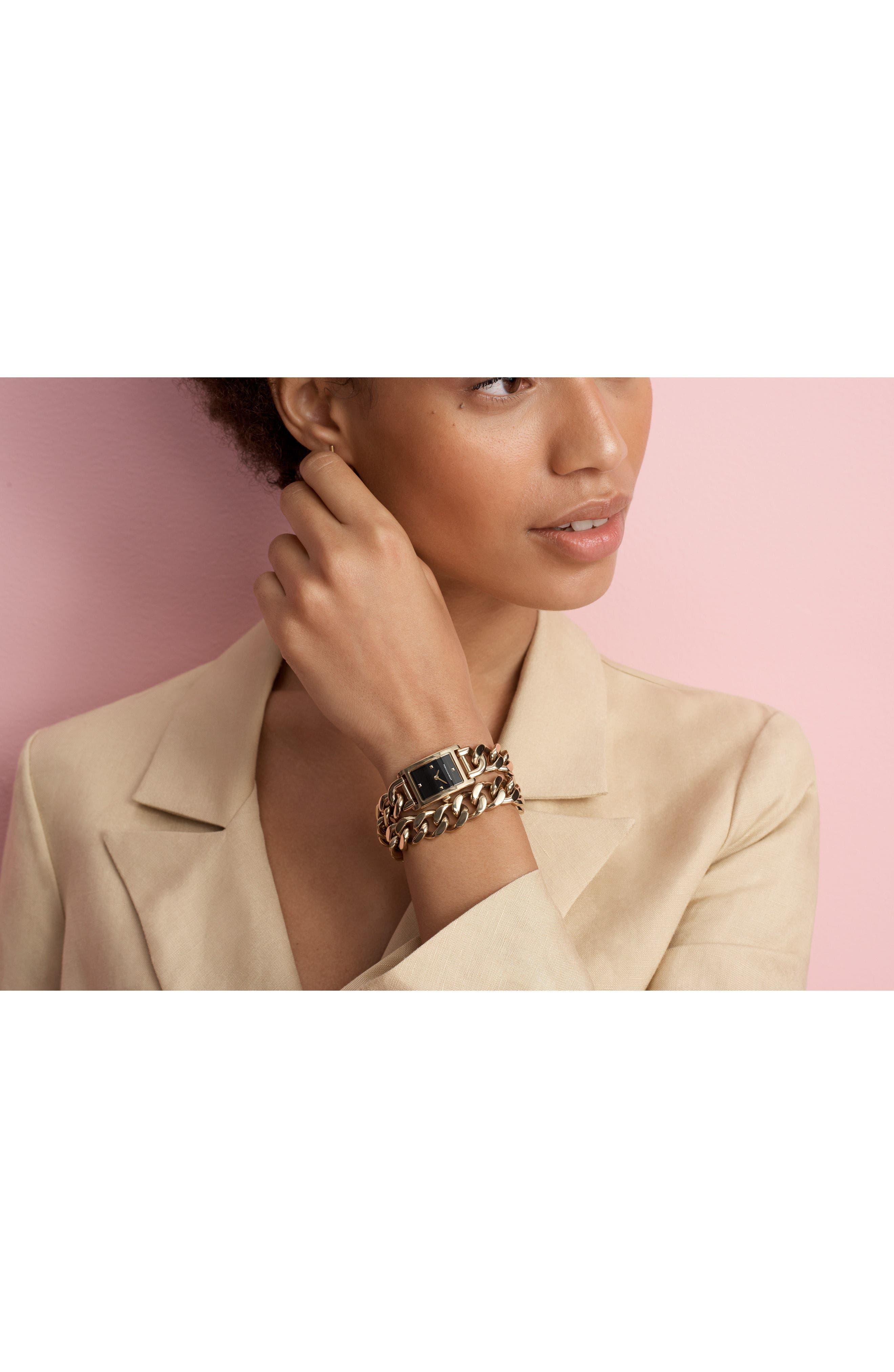 Moment Chain Wrap Bracelet Watch, 19mm x 30mm,                             Alternate thumbnail 5, color,                             GOLD/ BLACK/ GOLD