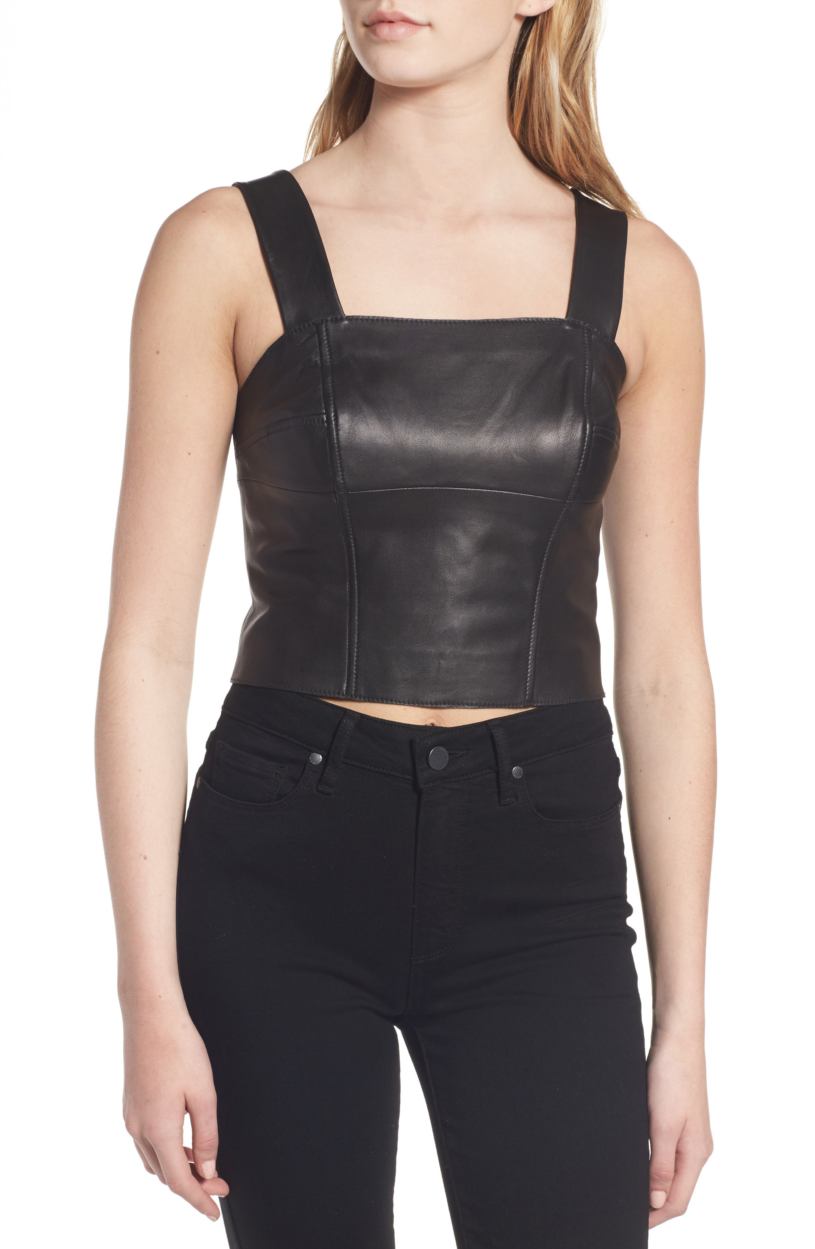Leather Bustier,                             Alternate thumbnail 4, color,                             001