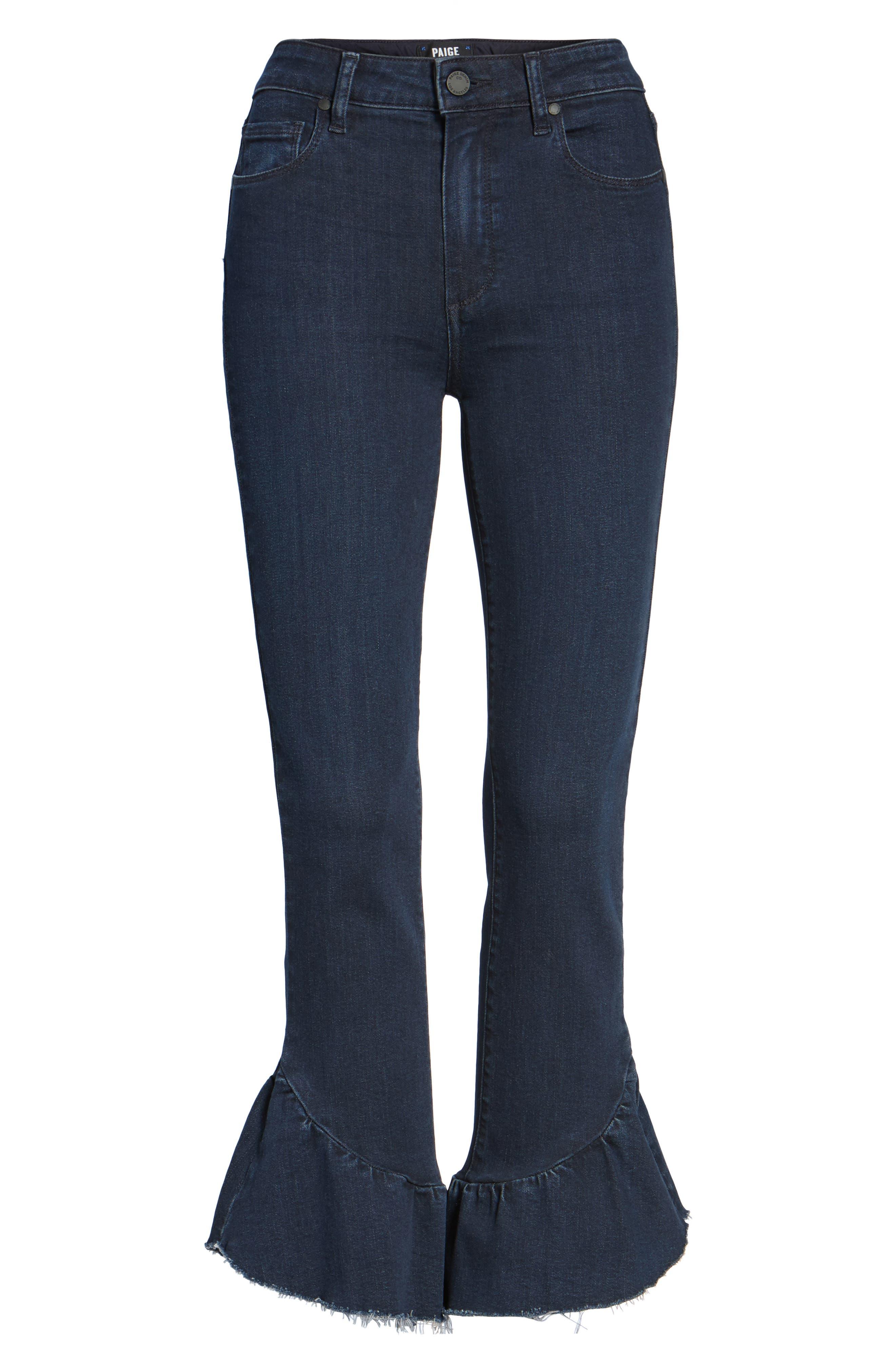 Flora Ruffle Hem Crop Straight Leg Jeans,                             Alternate thumbnail 6, color,                             400