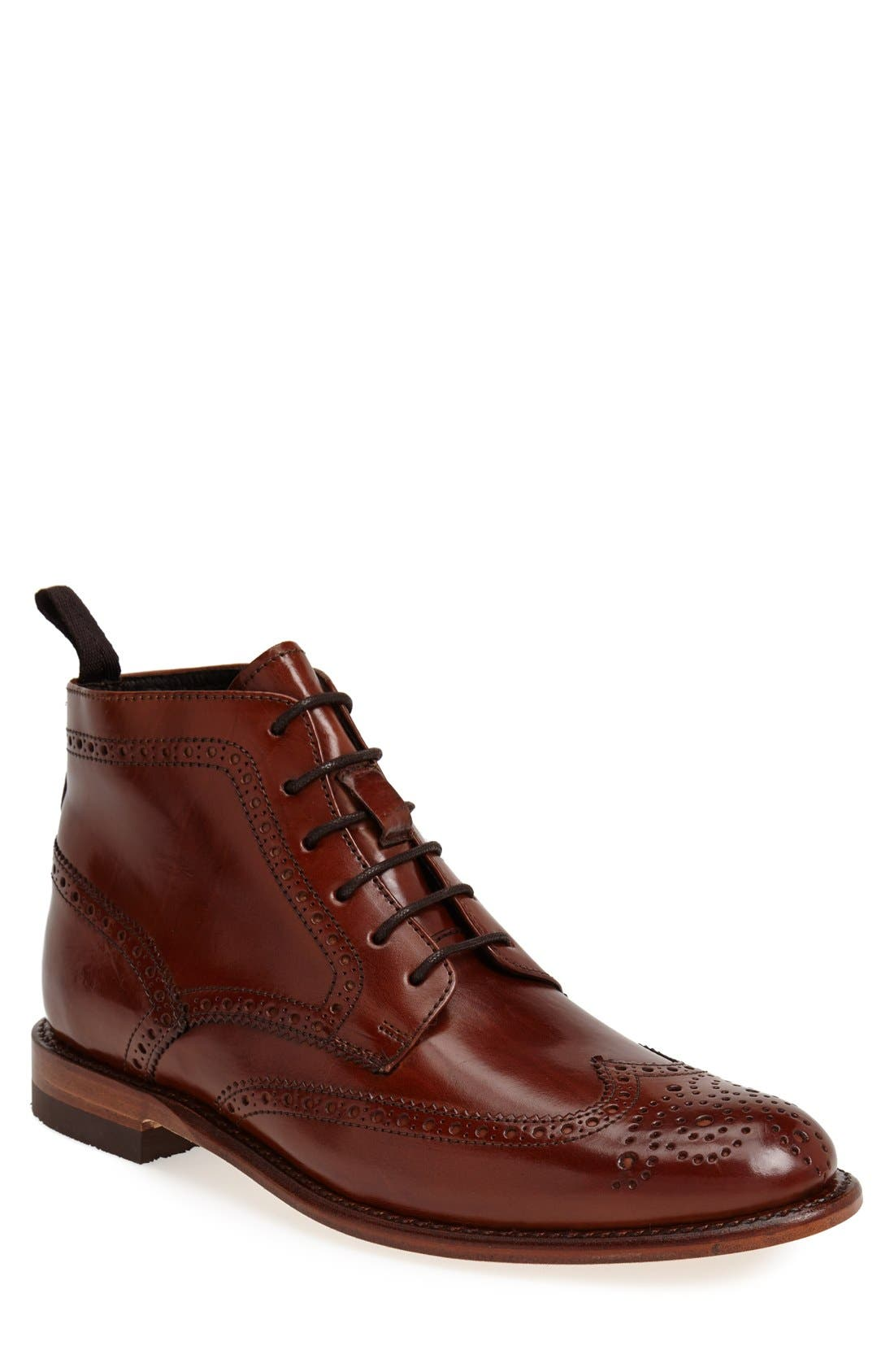 'Newport' Wingtip Boot,                             Main thumbnail 1, color,                             COGNAC