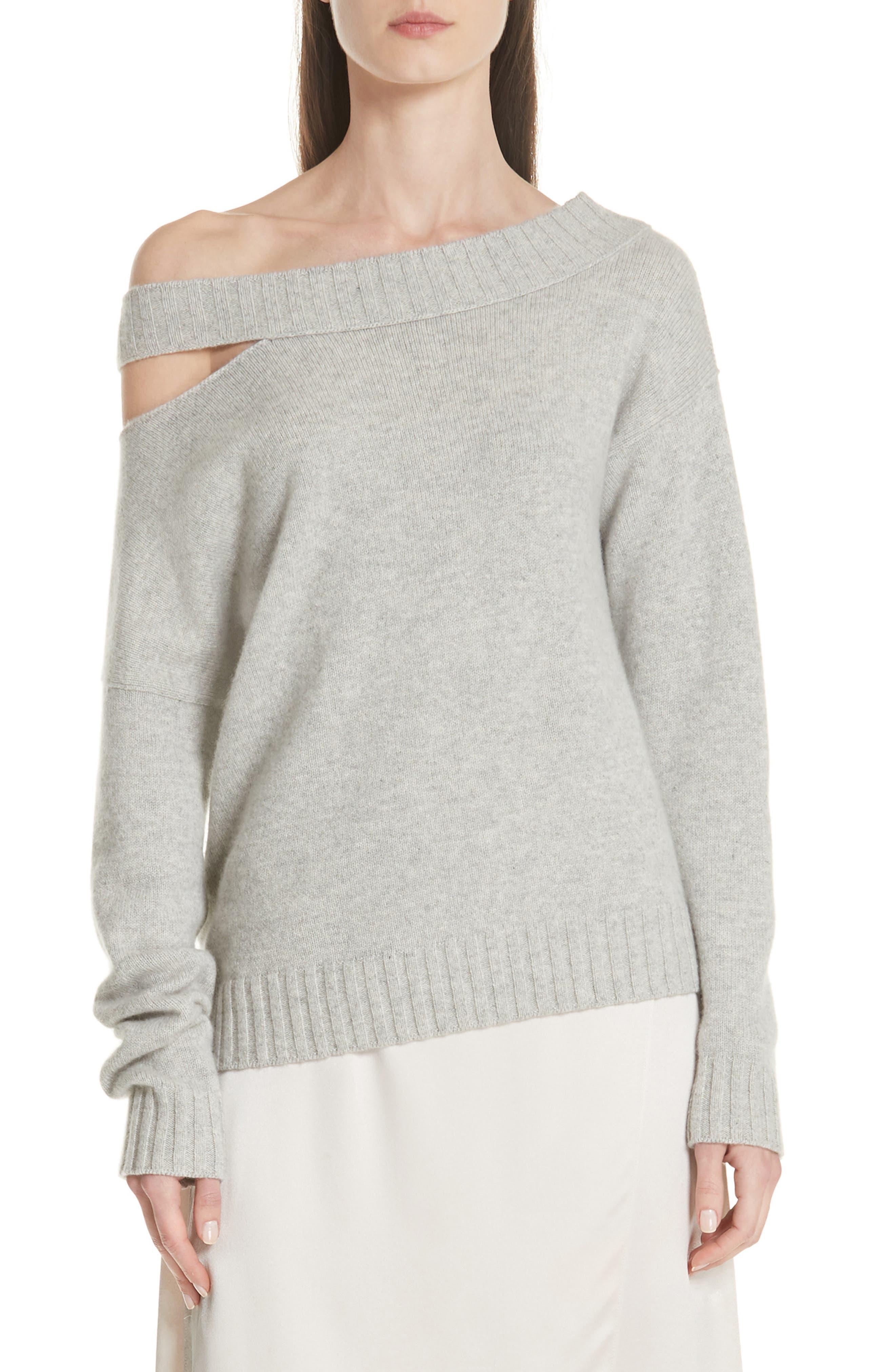 One Shoulder Slit Pullover Sweater,                         Main,                         color, LIGHT HEATHER GREY