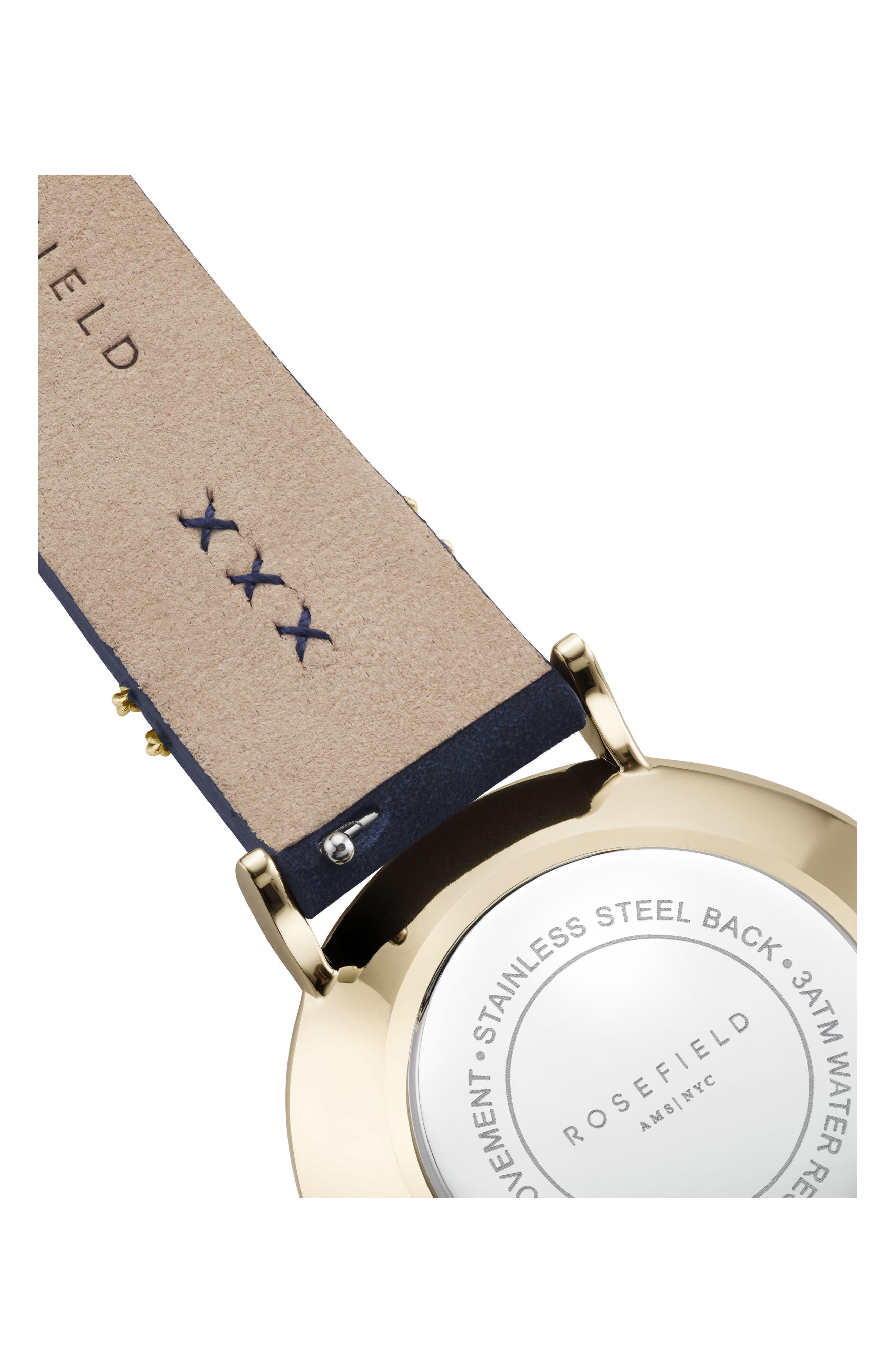 West Village Leather Strap Watch, 33mm,                             Alternate thumbnail 2, color,                             BLUE/ WHITE/ GOLD