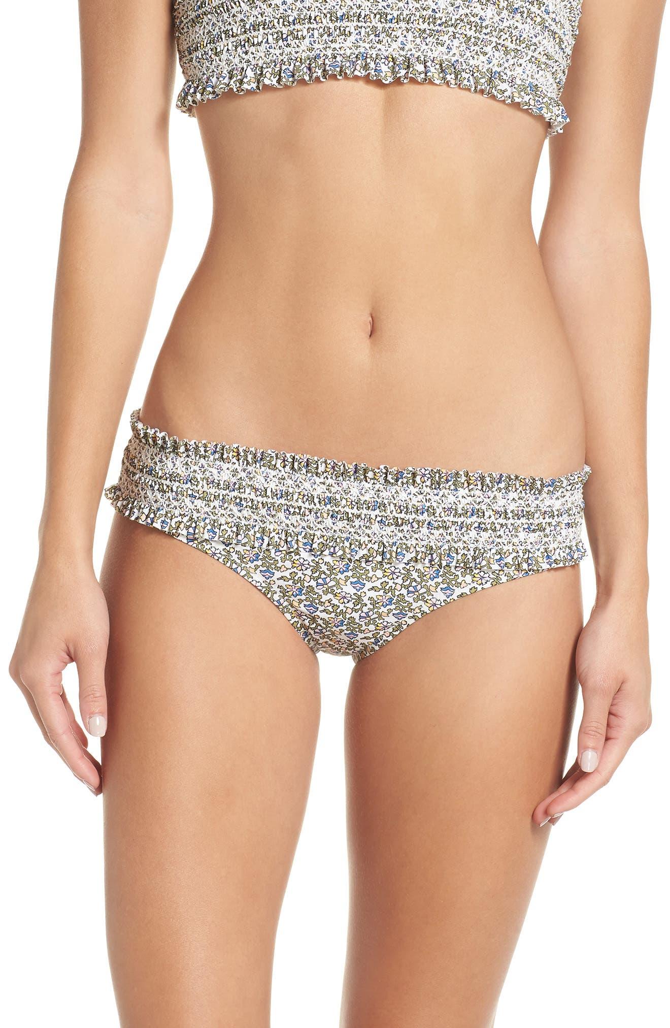 Costa Printed Hipster Smocked Swim Bikini Bottoms in Wild Ivory Pansy