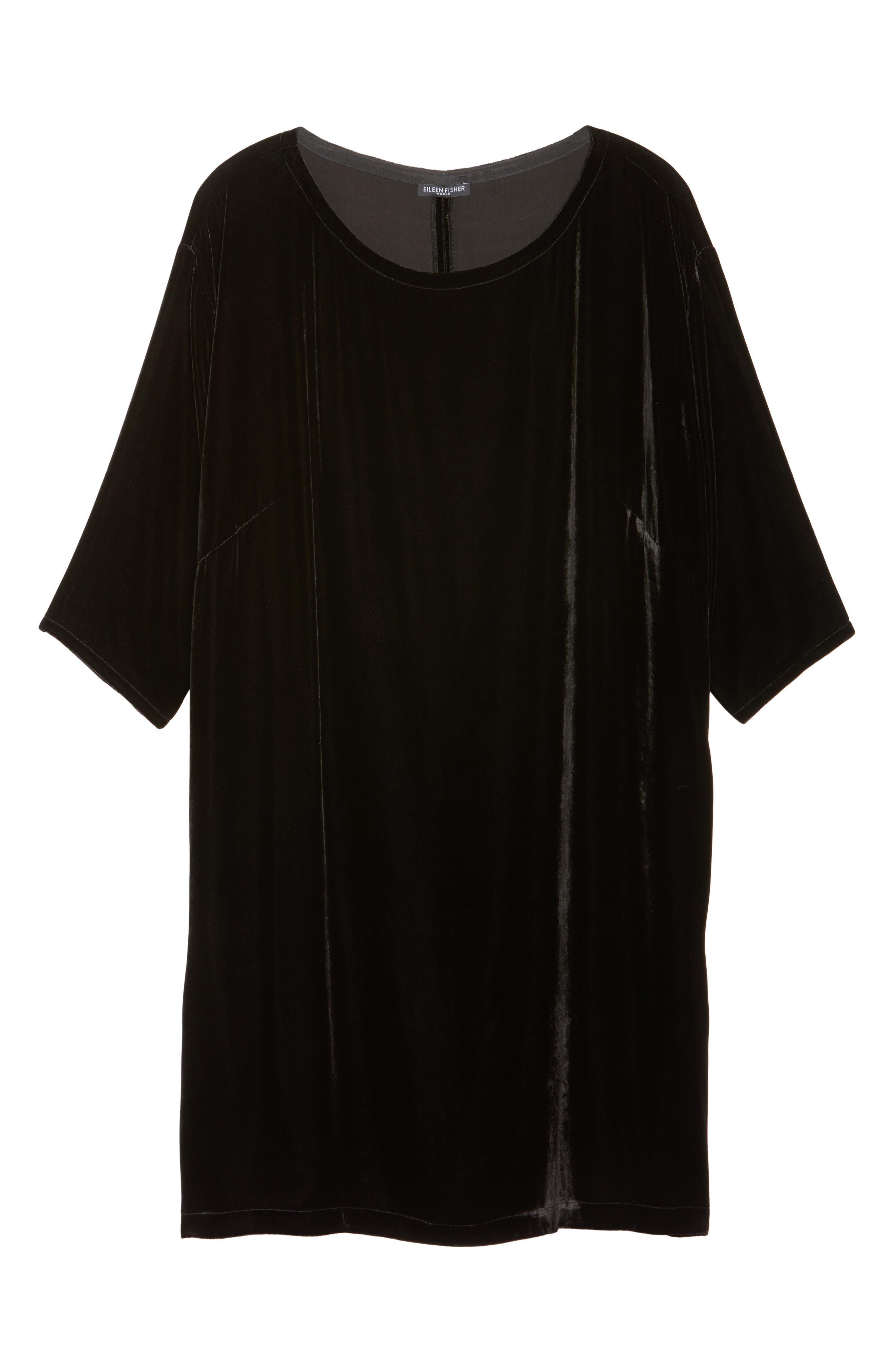 Velvet Shift Dress,                             Alternate thumbnail 7, color,                             001