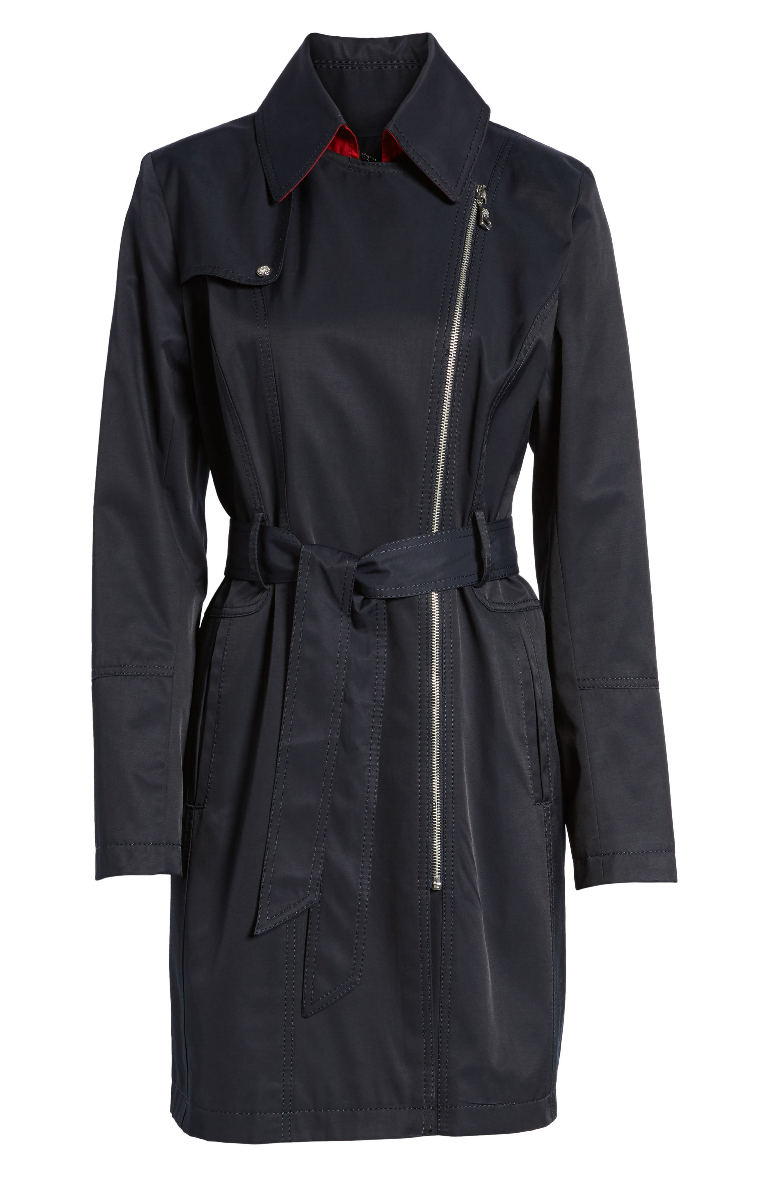 Belted Asymmetrical Trench Coat,                             Alternate thumbnail 15, color,