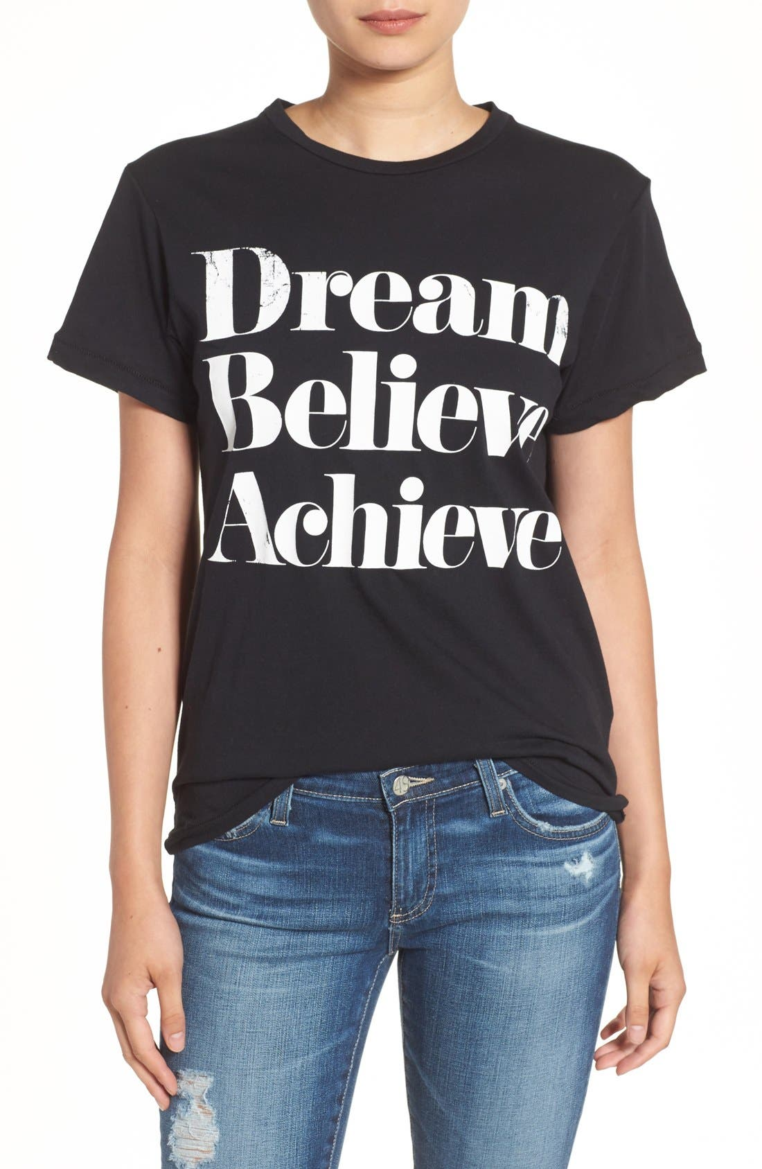'Dream Believe Achieve' Graphic Tee,                             Main thumbnail 1, color,                             001
