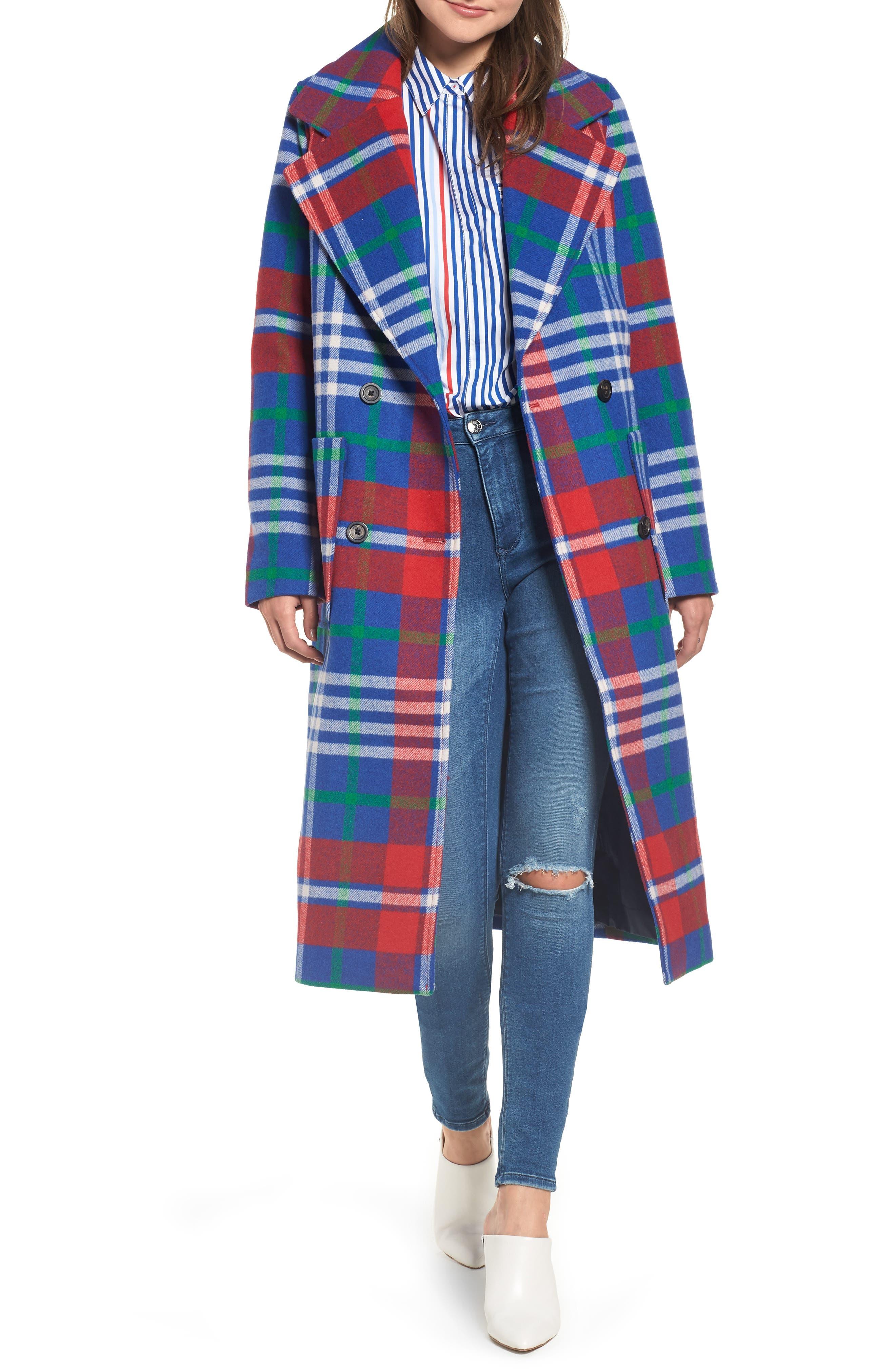 Long Plaid Coat,                             Main thumbnail 1, color,                             605