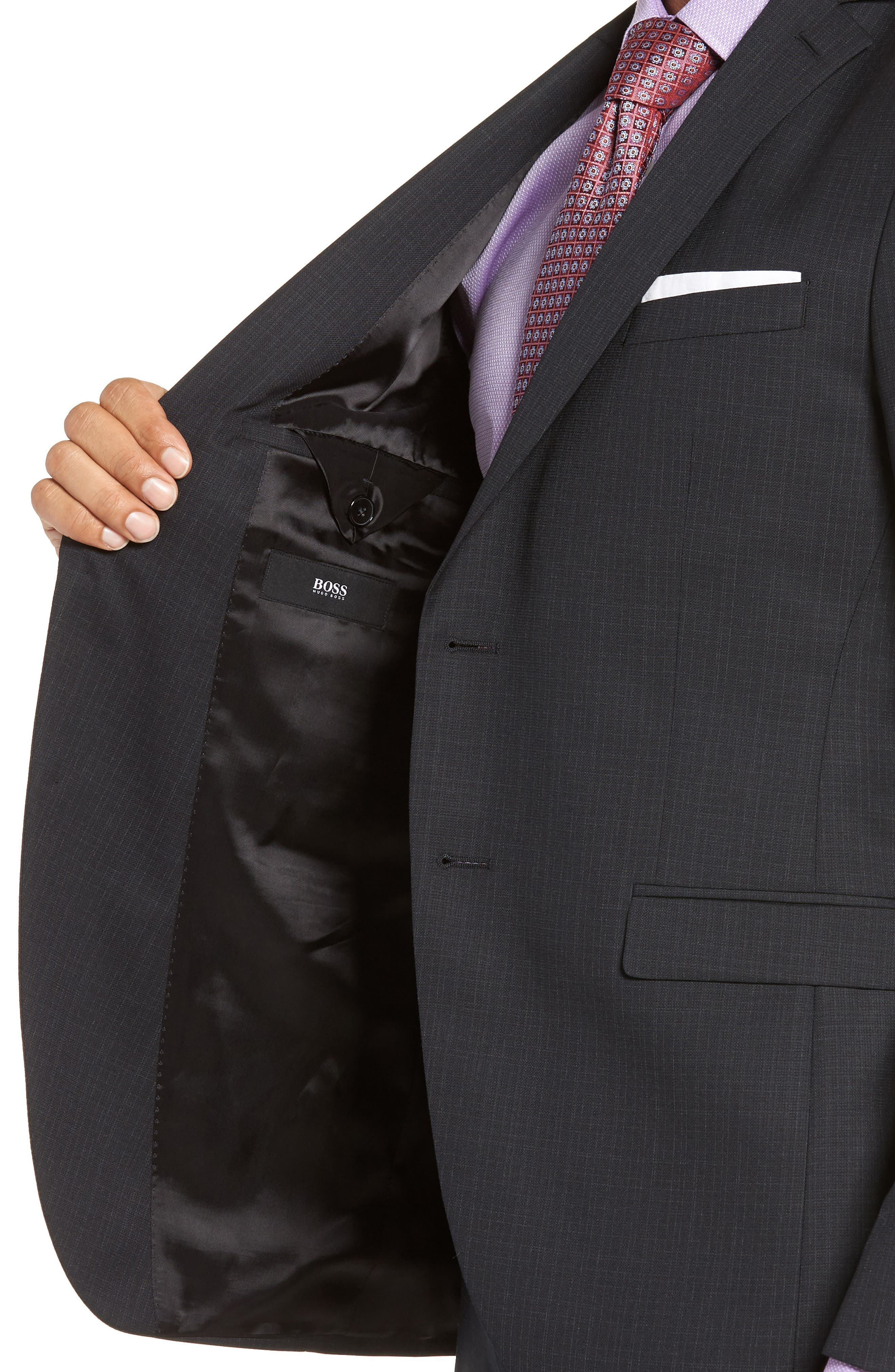 Reymond/Wenten Extra Trim Fit Check Wool Suit,                             Alternate thumbnail 4, color,                             BLACK
