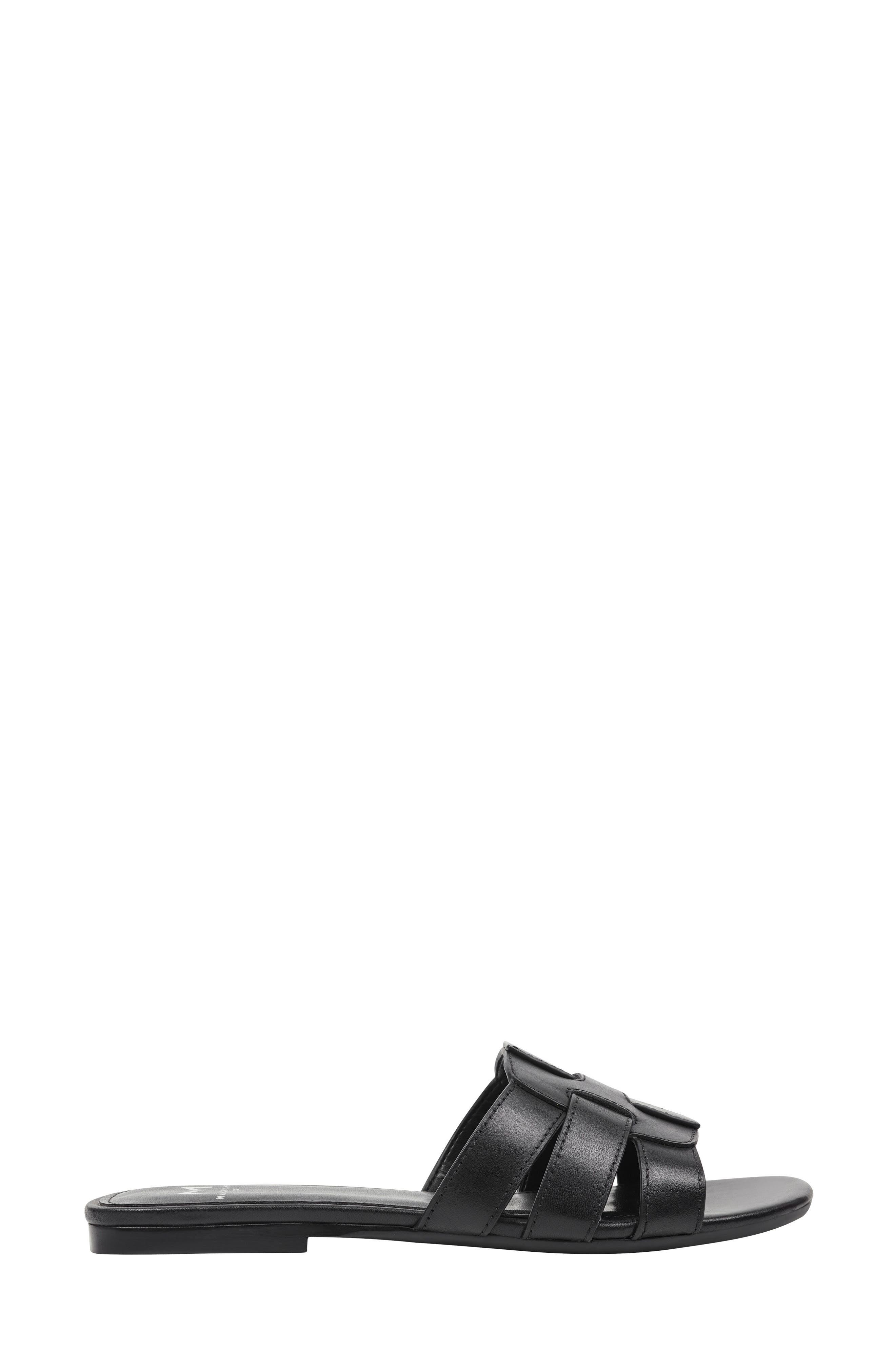 Kayli Slide Sandal,                             Alternate thumbnail 3, color,                             BLACK LEATHER LEATHER