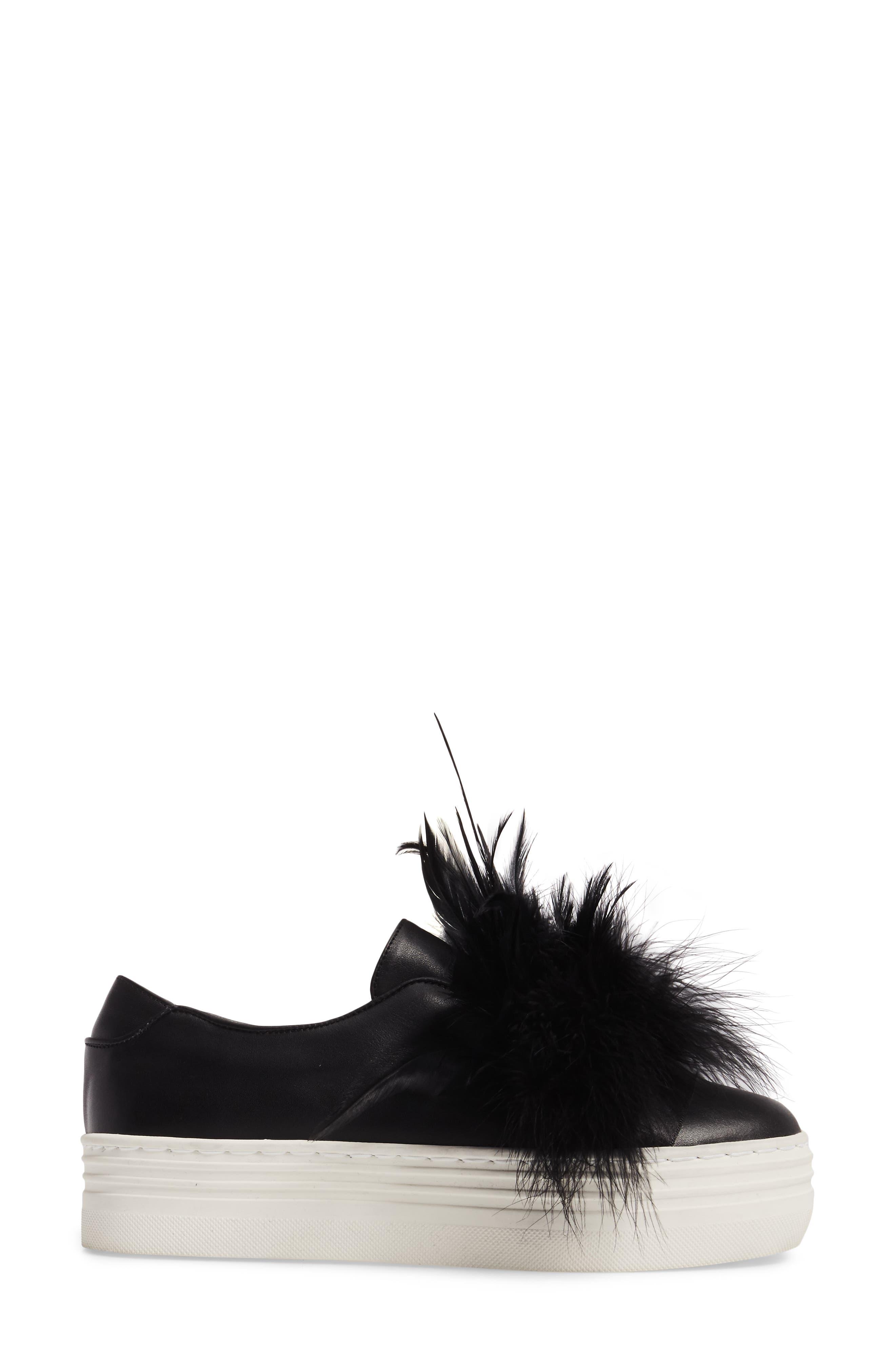 Lily Feather Pom Slip-On Platform Sneaker,                             Alternate thumbnail 3, color,                             001
