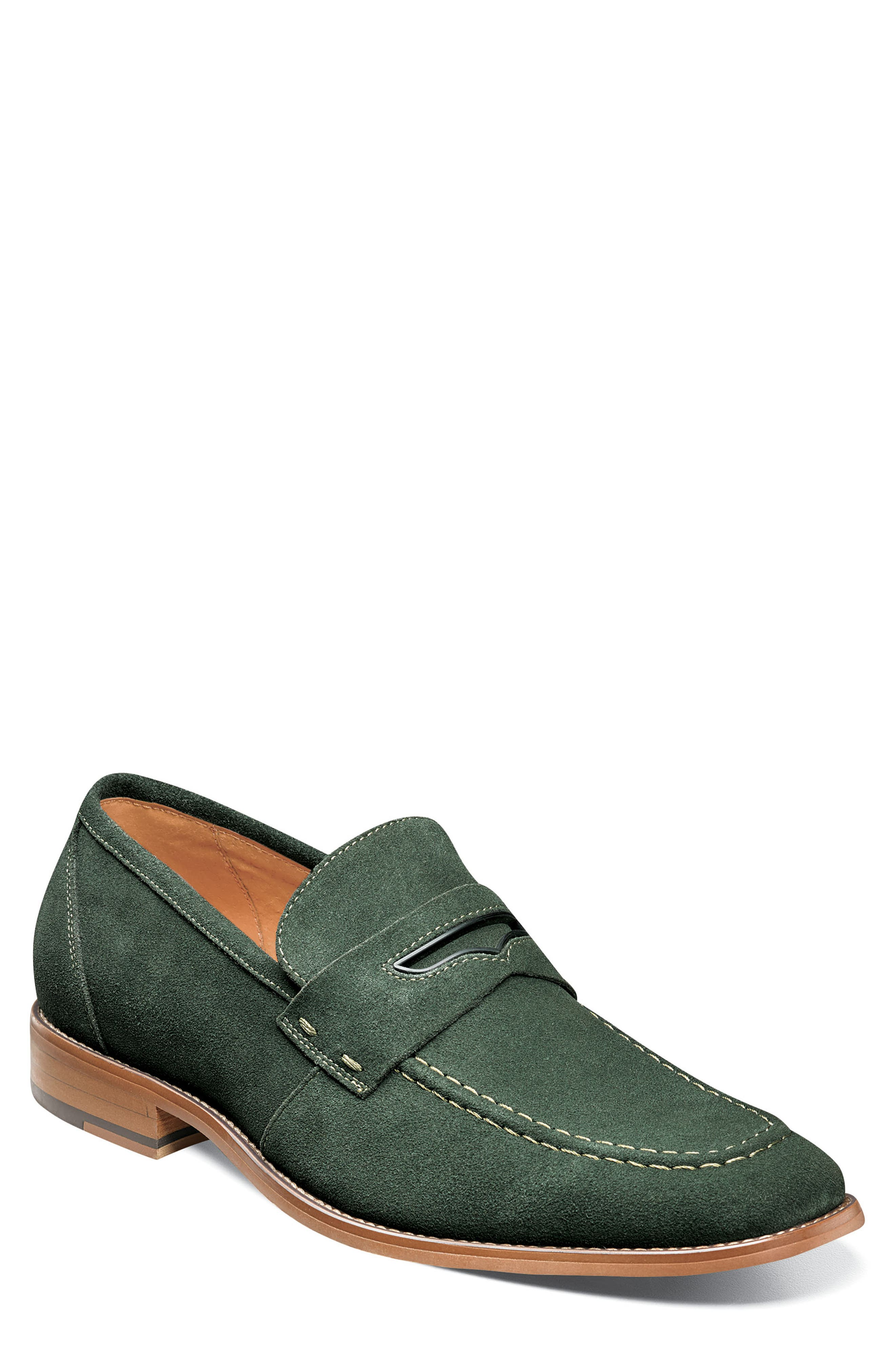 Colfax Apron Toe Penny Loafer,                             Main thumbnail 1, color,                             DARK GREEN SUEDE